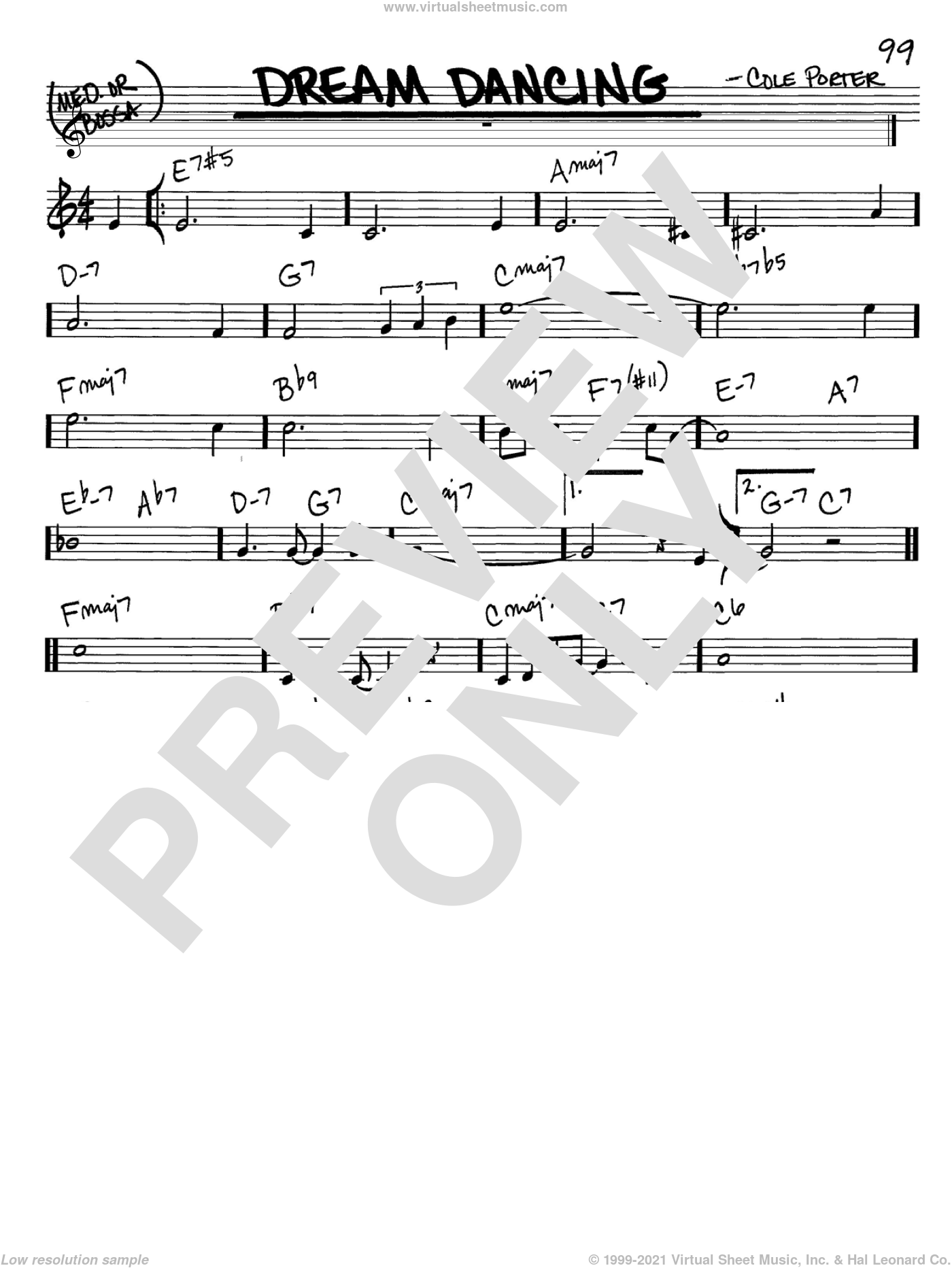 Dream Dancing sheet music for voice and other instruments (C) by Cole Porter. Score Image Preview.