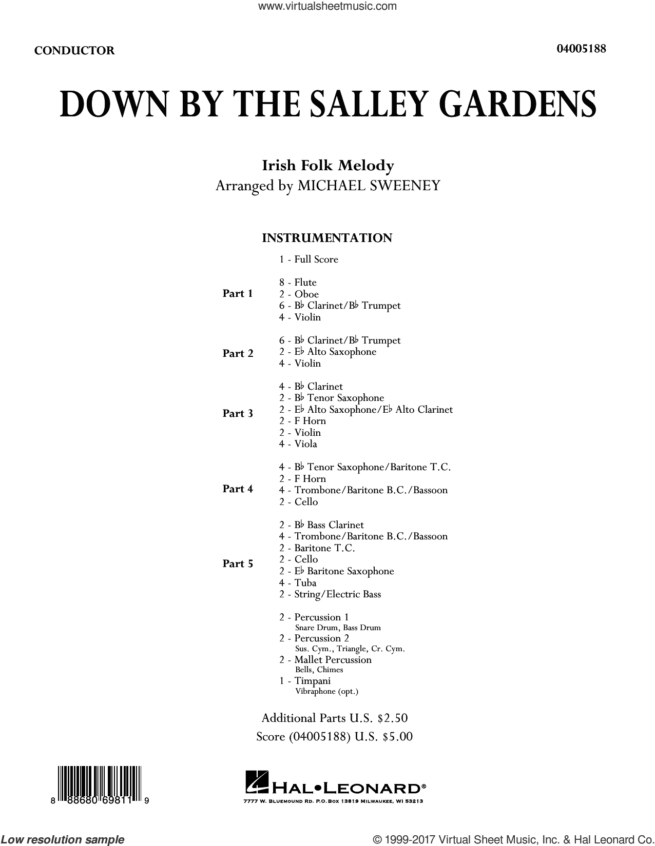 Down by the Salley Gardens (COMPLETE) sheet music for concert band by Michael Sweeney and Traditional Irish Folk Melody, intermediate. Score Image Preview.