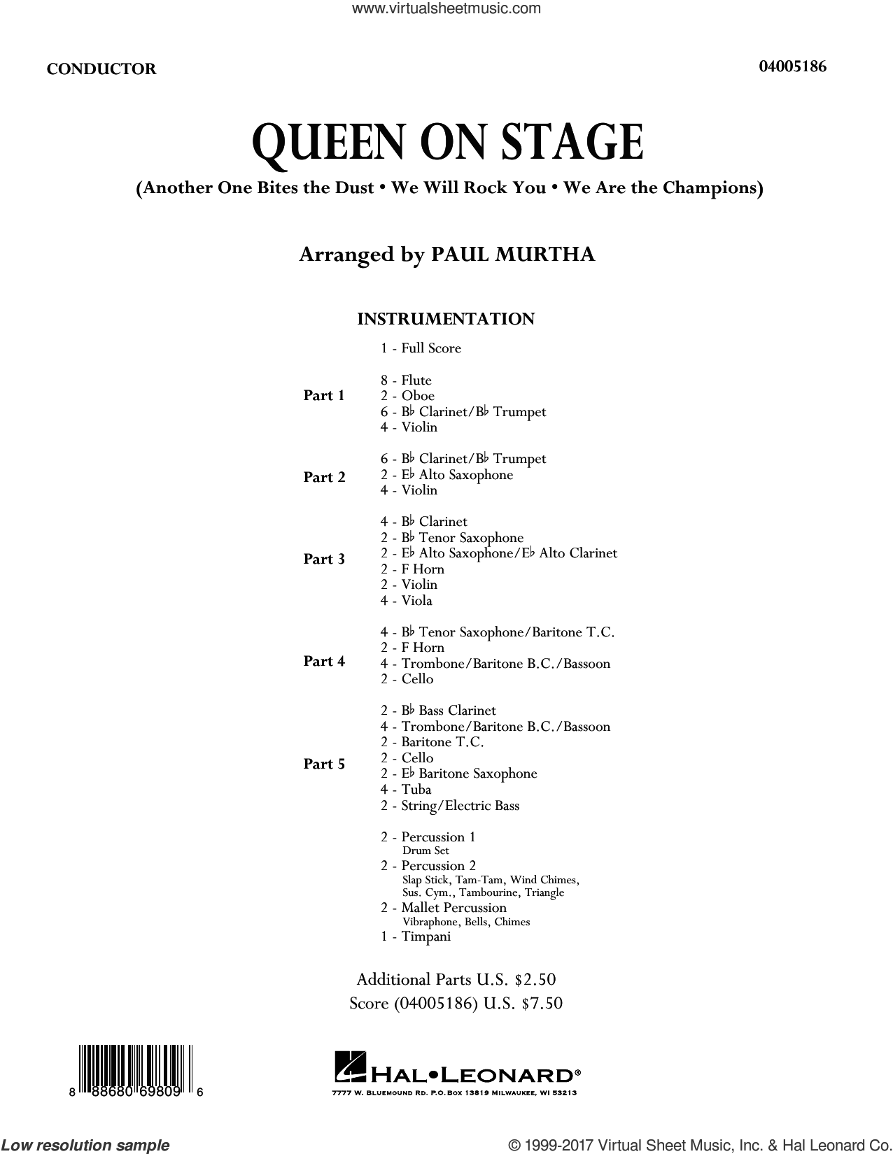 Queen On Stage (COMPLETE) sheet music for concert band by Paul Murtha, intermediate skill level