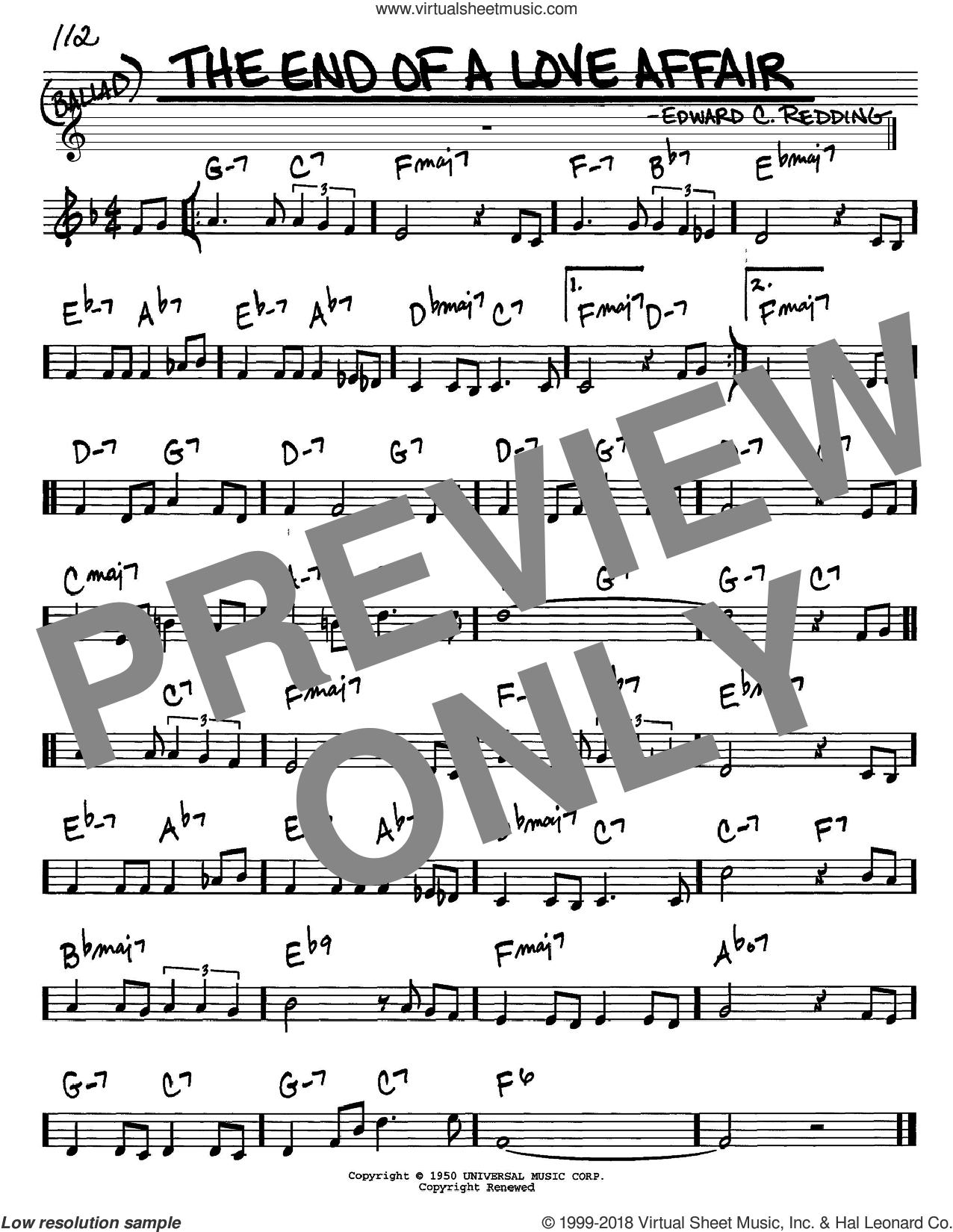 The End Of A Love Affair sheet music for voice and other instruments (C) by Edward Redding and Frank Sinatra. Score Image Preview.