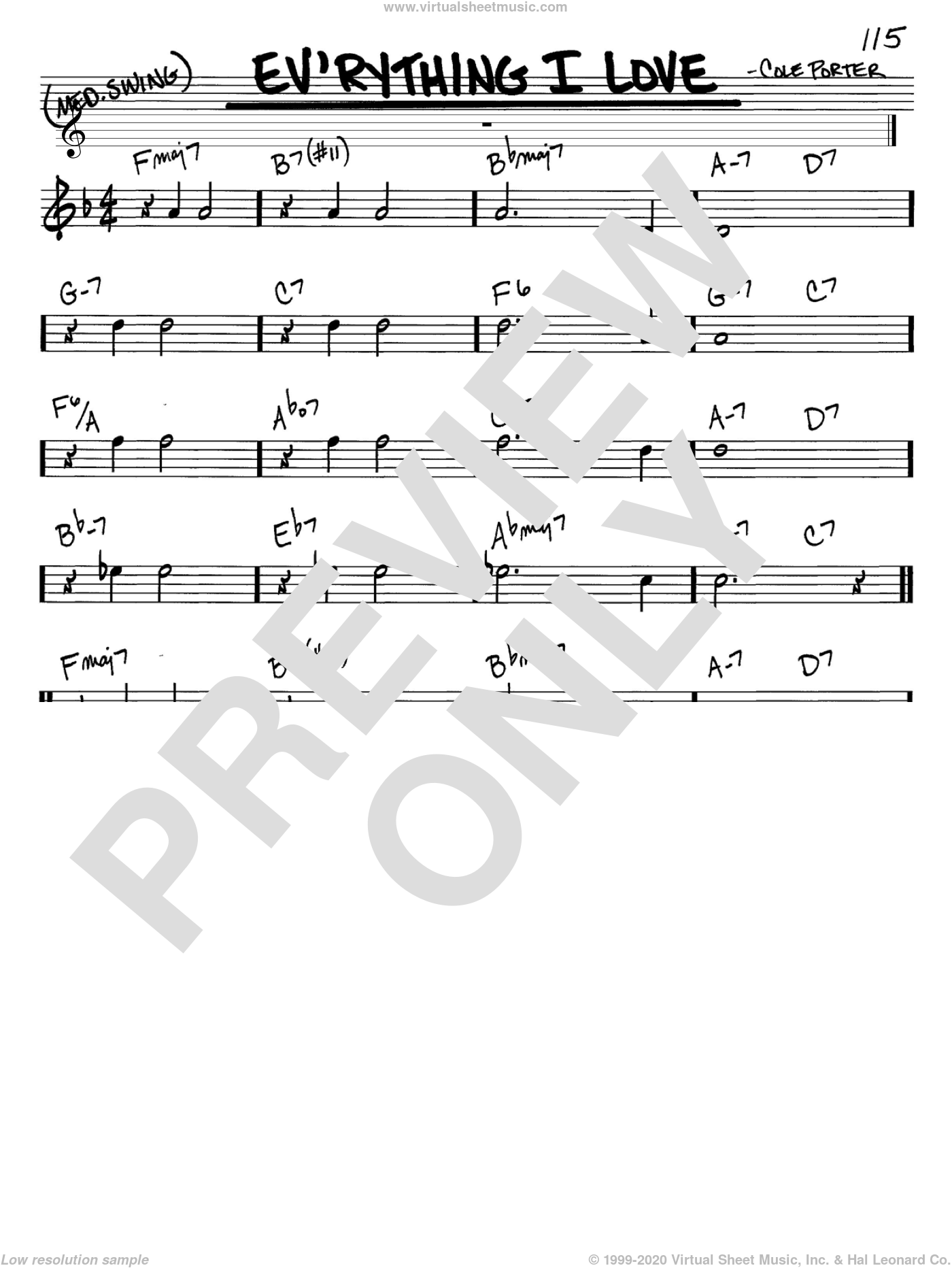 Ev'rything I Love sheet music for voice and other instruments (in C) by Peggy Lee and Cole Porter, intermediate. Score Image Preview.