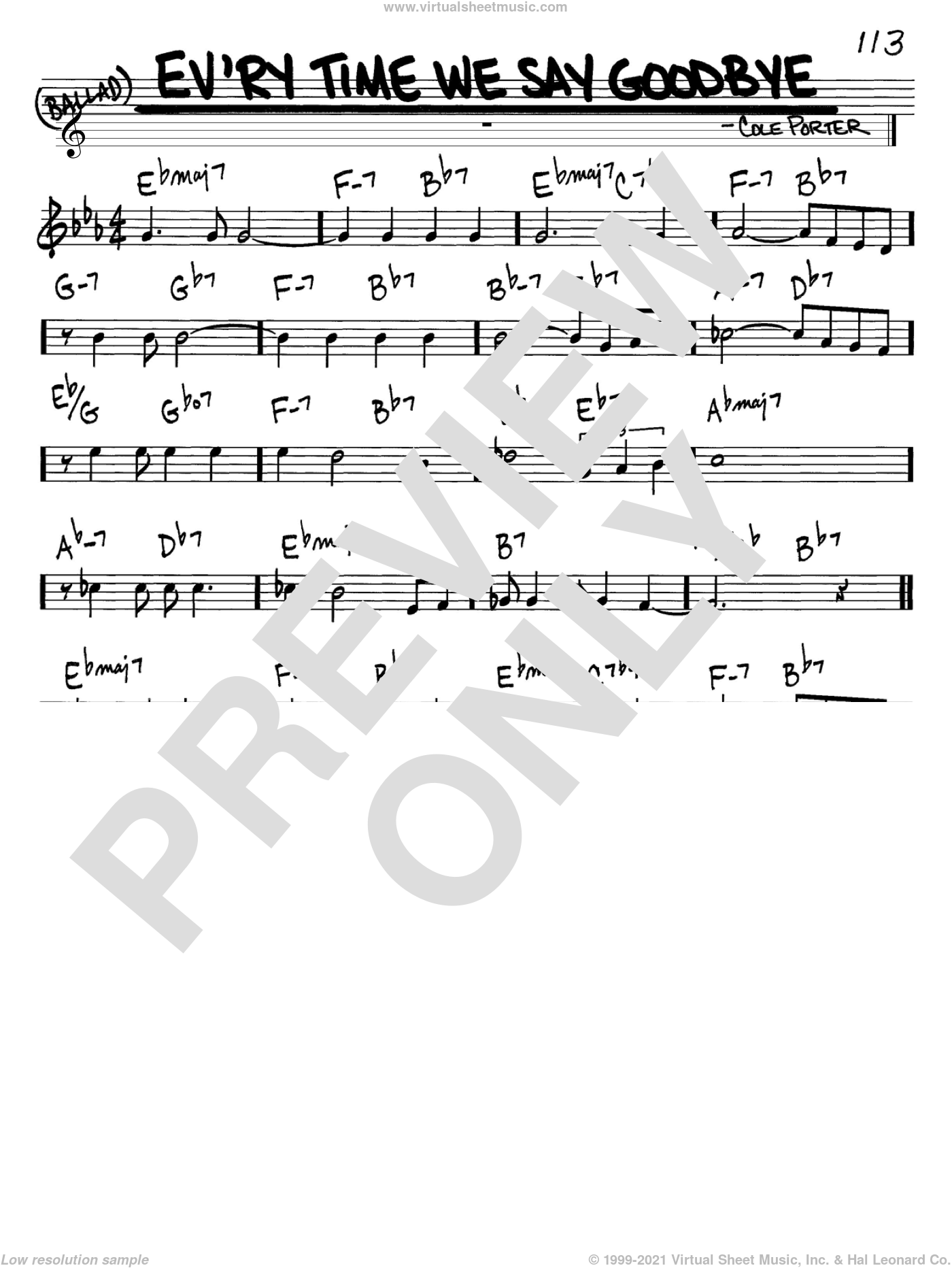Ev'ry Time We Say Goodbye sheet music for voice and other instruments (C) by Cole Porter. Score Image Preview.