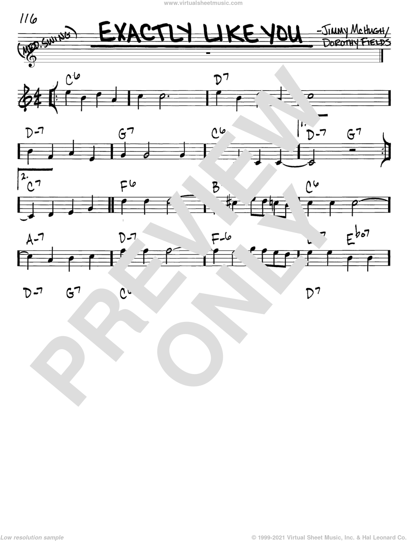 Exactly Like You sheet music for voice and other instruments (C) by Jimmy McHugh and Dorothy Fields. Score Image Preview.