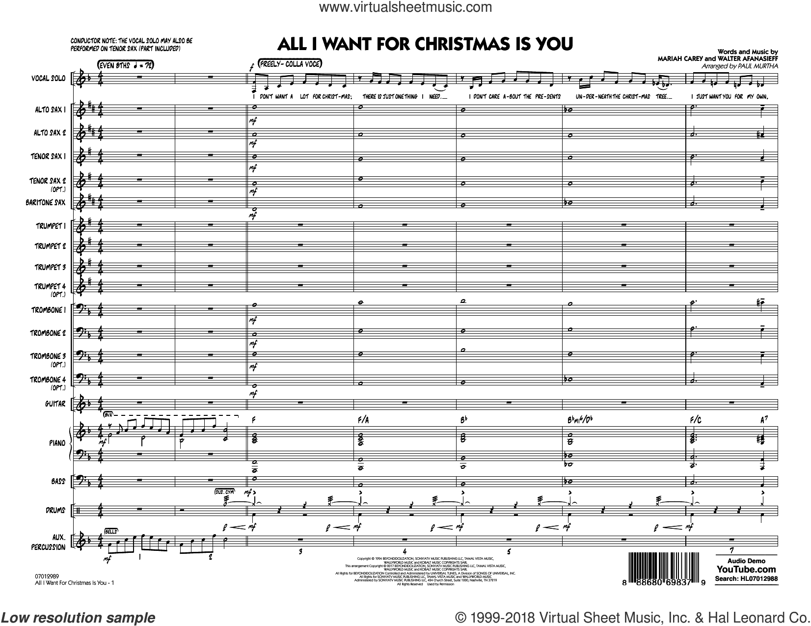 All I Want for Christmas Is You (COMPLETE) sheet music for jazz band by Paul Murtha and Walter Afanasieff, intermediate skill level