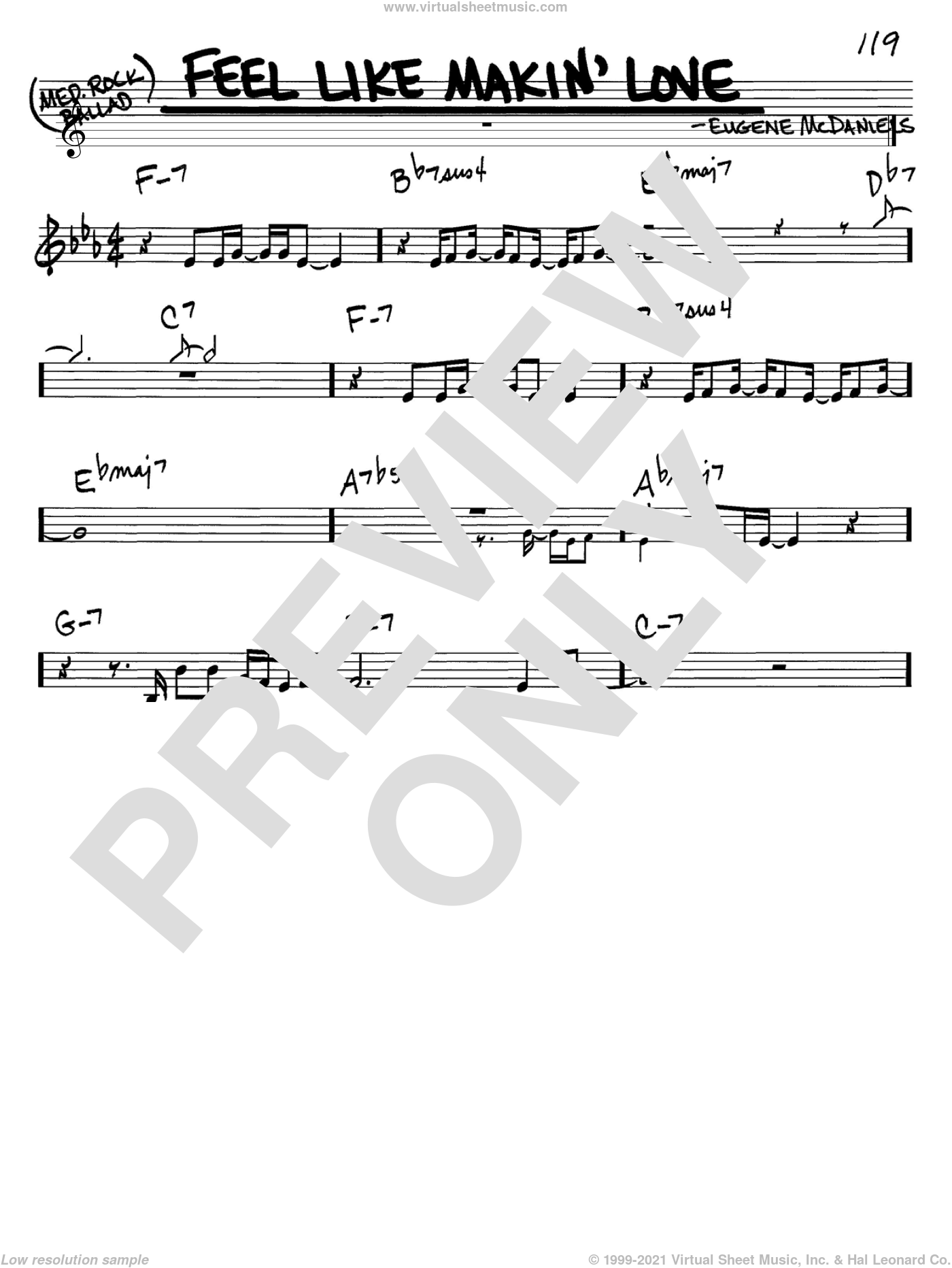 Feel Like Makin' Love sheet music for voice and other instruments (C) by Eugene McDaniels. Score Image Preview.
