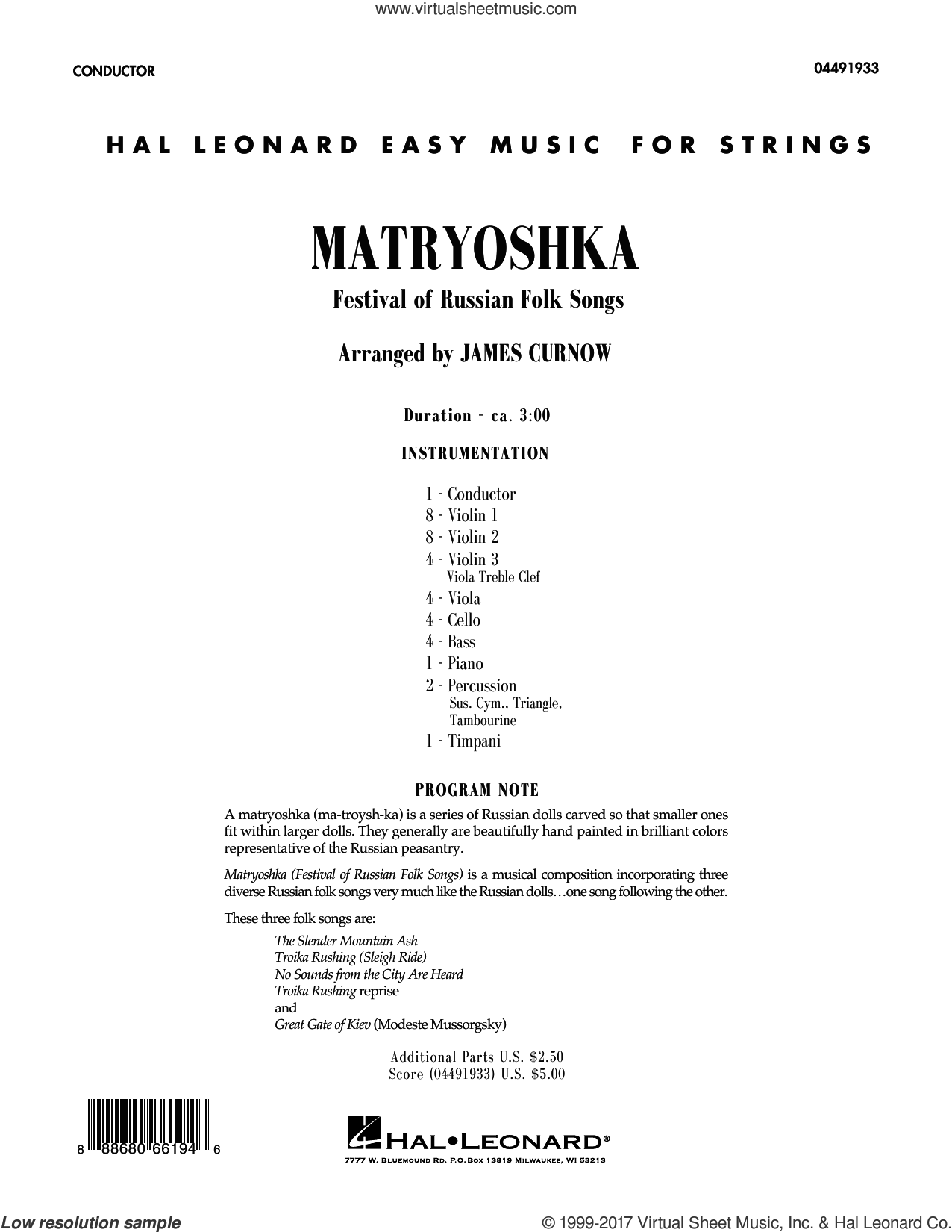 Matryoshka (Festival of Russian Folk Songs) (COMPLETE) sheet music for orchestra by James Curnow, intermediate skill level