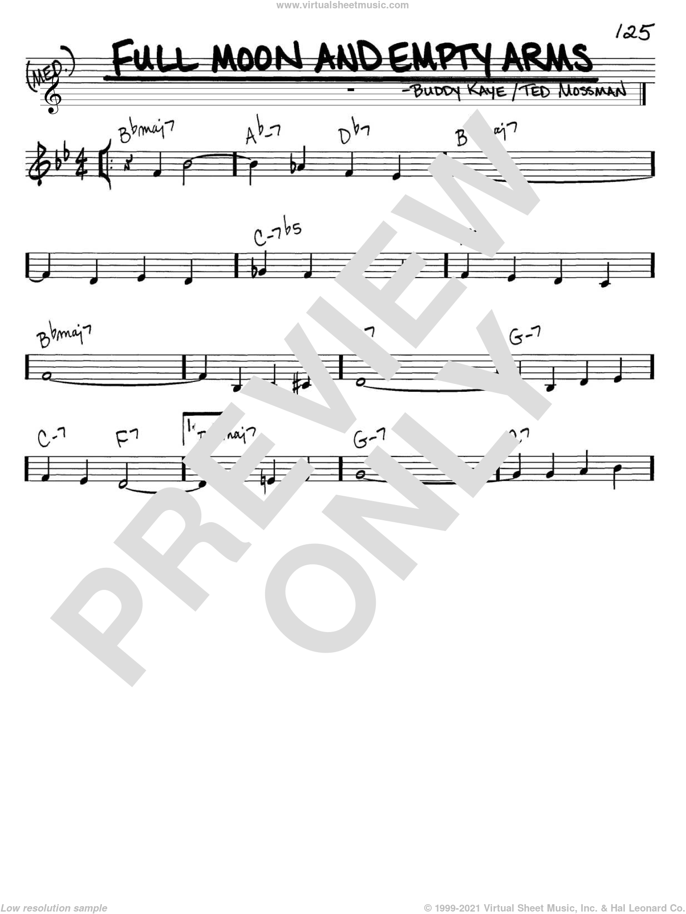 Full Moon And Empty Arms sheet music for voice and other instruments (C) by Ted Mossman and Buddy Kaye. Score Image Preview.