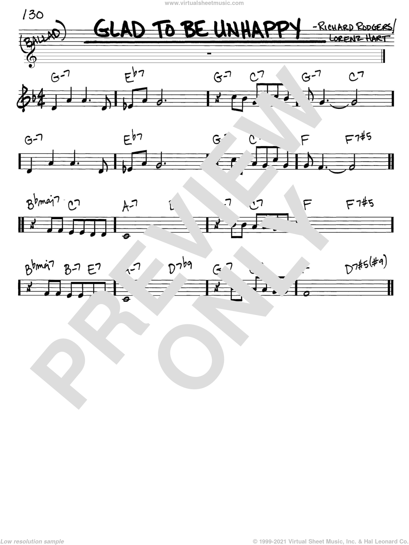 Glad To Be Unhappy sheet music for voice and other instruments (C) by Richard Rodgers, Rodgers & Hart and Lorenz Hart. Score Image Preview.