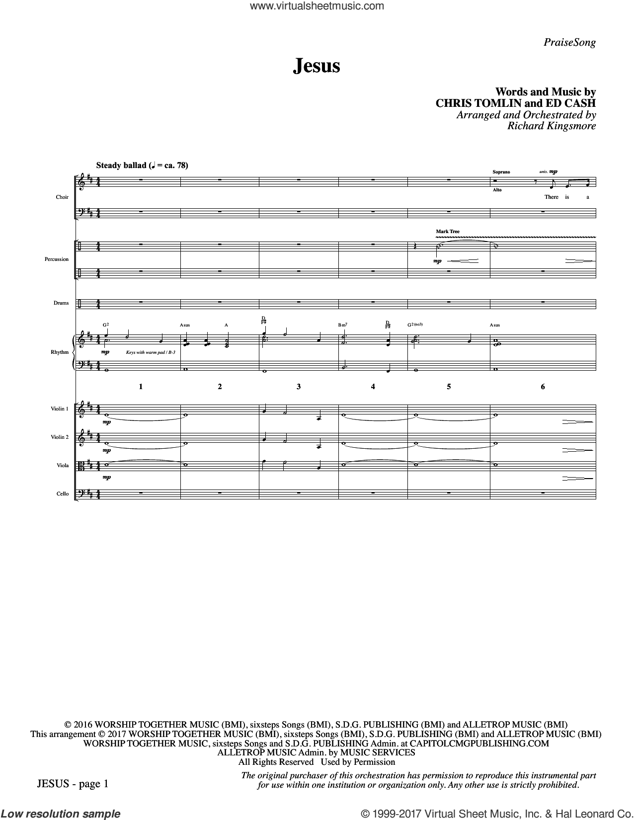 Jesus (COMPLETE) sheet music for orchestra/band by Richard Kingsmore, Chris Tomlin and Ed Cash, intermediate orchestra/band. Score Image Preview.