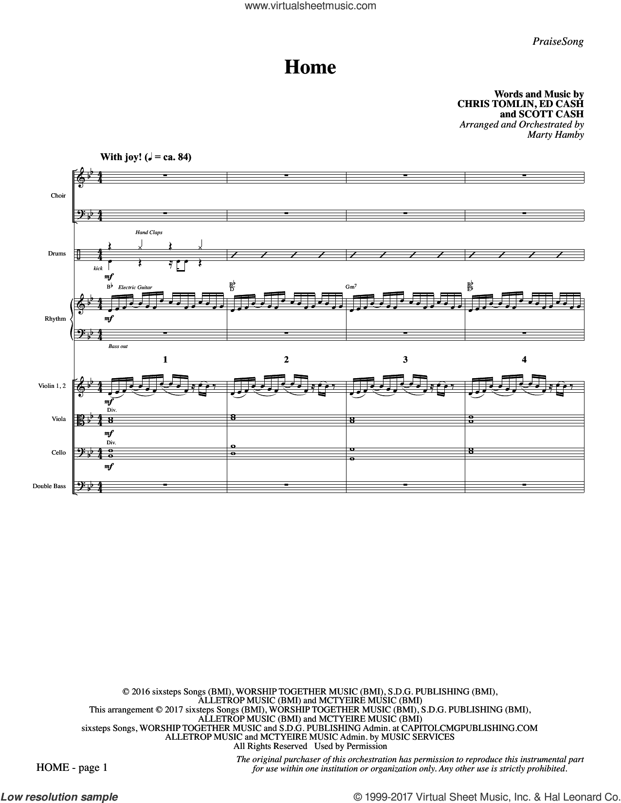 Home (COMPLETE) sheet music for orchestra/band by Marty Hamby, Chris Tomlin, Ed Cash and Scott Cash, intermediate skill level