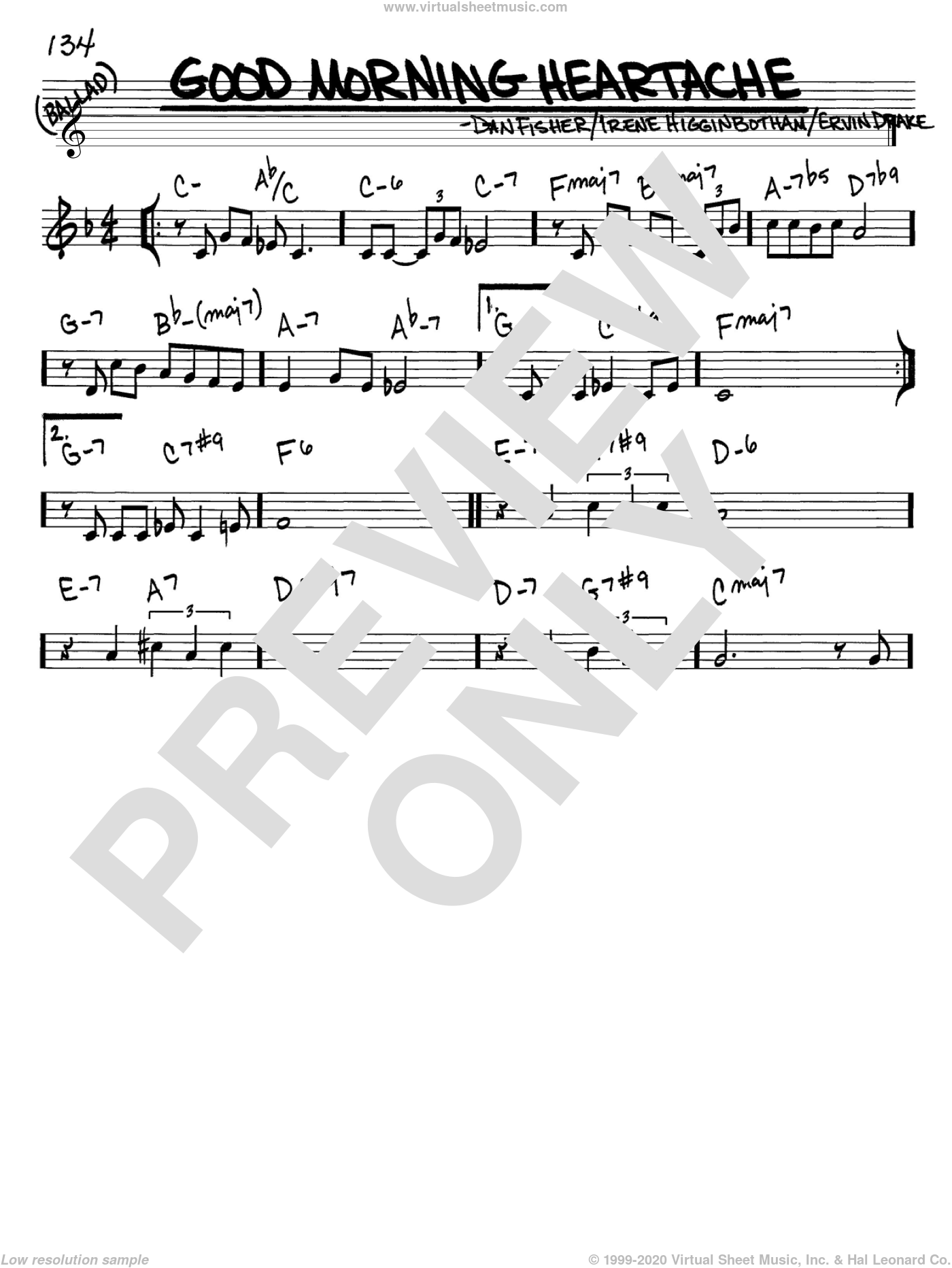 Good Morning Heartache sheet music for voice and other instruments (C) by Billie Holiday, Diana Ross, Dan Fisher, Ervin Drake and Irene Higginbotham. Score Image Preview.