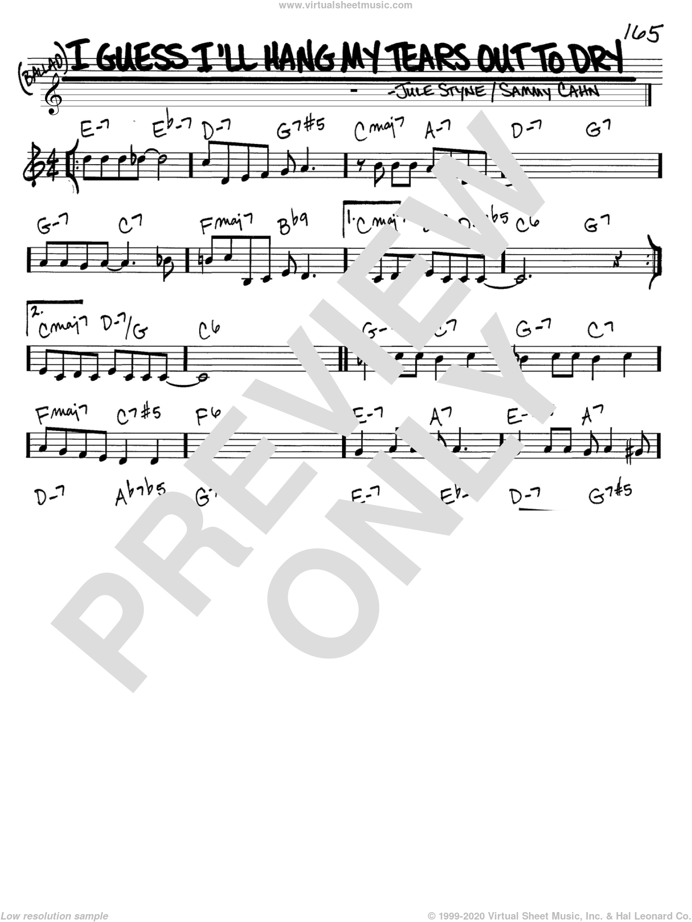 I Guess I'll Hang My Tears Out To Dry sheet music for voice and other instruments (C) by Sammy Cahn, Dexter Gordon and Jule Styne. Score Image Preview.