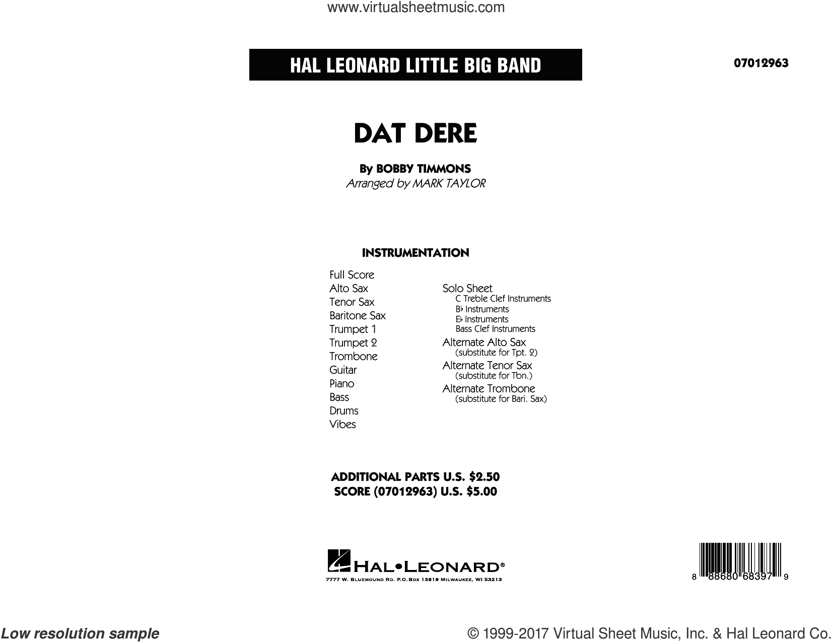 Dat Dere (COMPLETE) sheet music for jazz band by Mark Taylor, Bobby Timmons, Cannonball Adderley and Oscar Brown, Jr., intermediate skill level