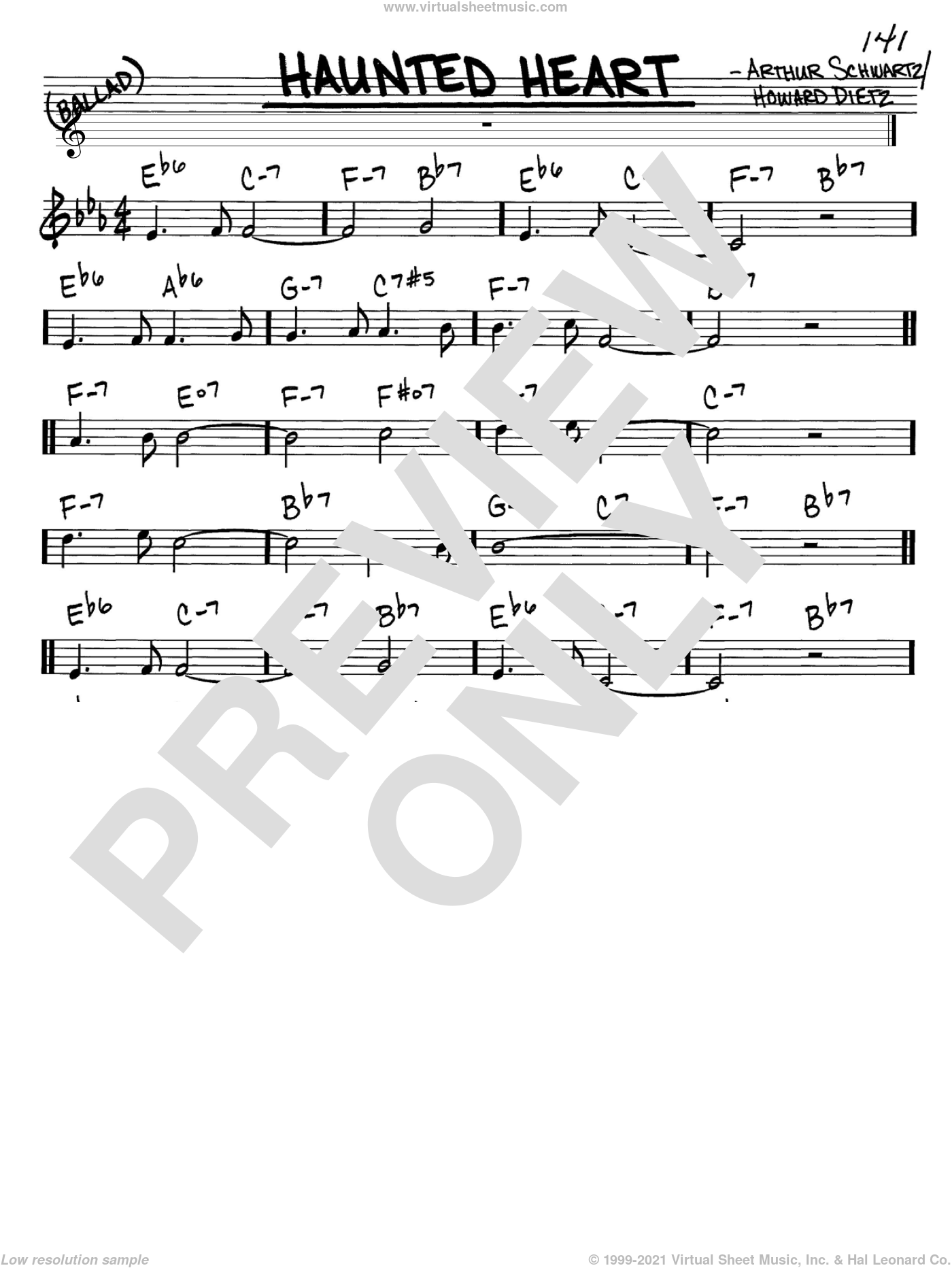 Haunted Heart sheet music for voice and other instruments (C) by Howard Dietz, Frank Sinatra and Arthur Schwartz. Score Image Preview.