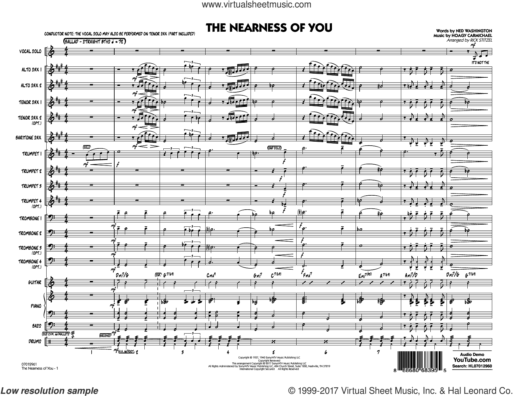 The Nearness of You (Key: C) (COMPLETE) sheet music for jazz band by Rick Stitzel, George Shearing, Hoagy Carmichael and Ned Washington, intermediate jazz band. Score Image Preview.