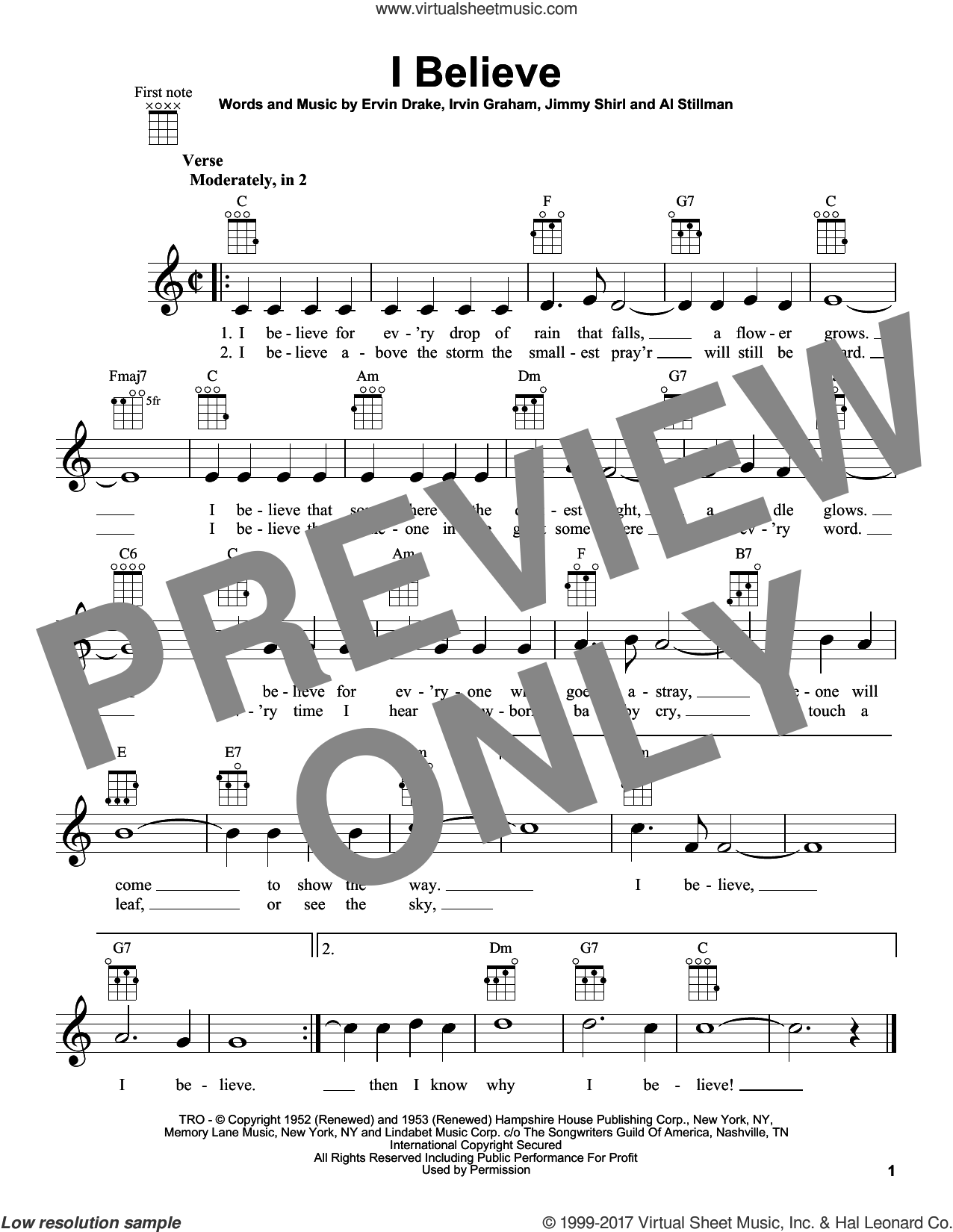 I Believe sheet music for ukulele by Jimmy Shirl, Al Stillman and Ervin Drake. Score Image Preview.