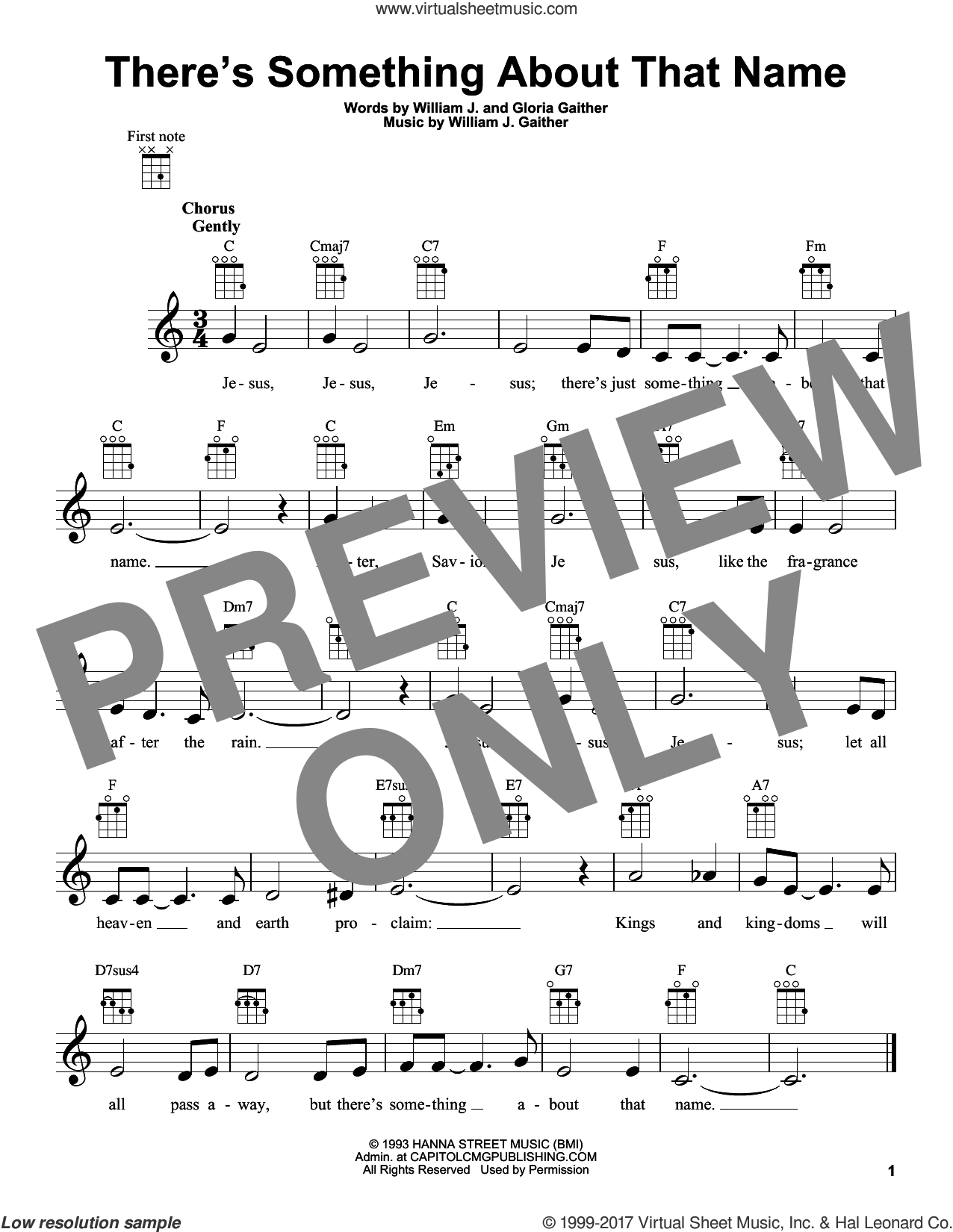 There's Something About That Name sheet music for ukulele by William J. Gaither and Gloria Gaither. Score Image Preview.