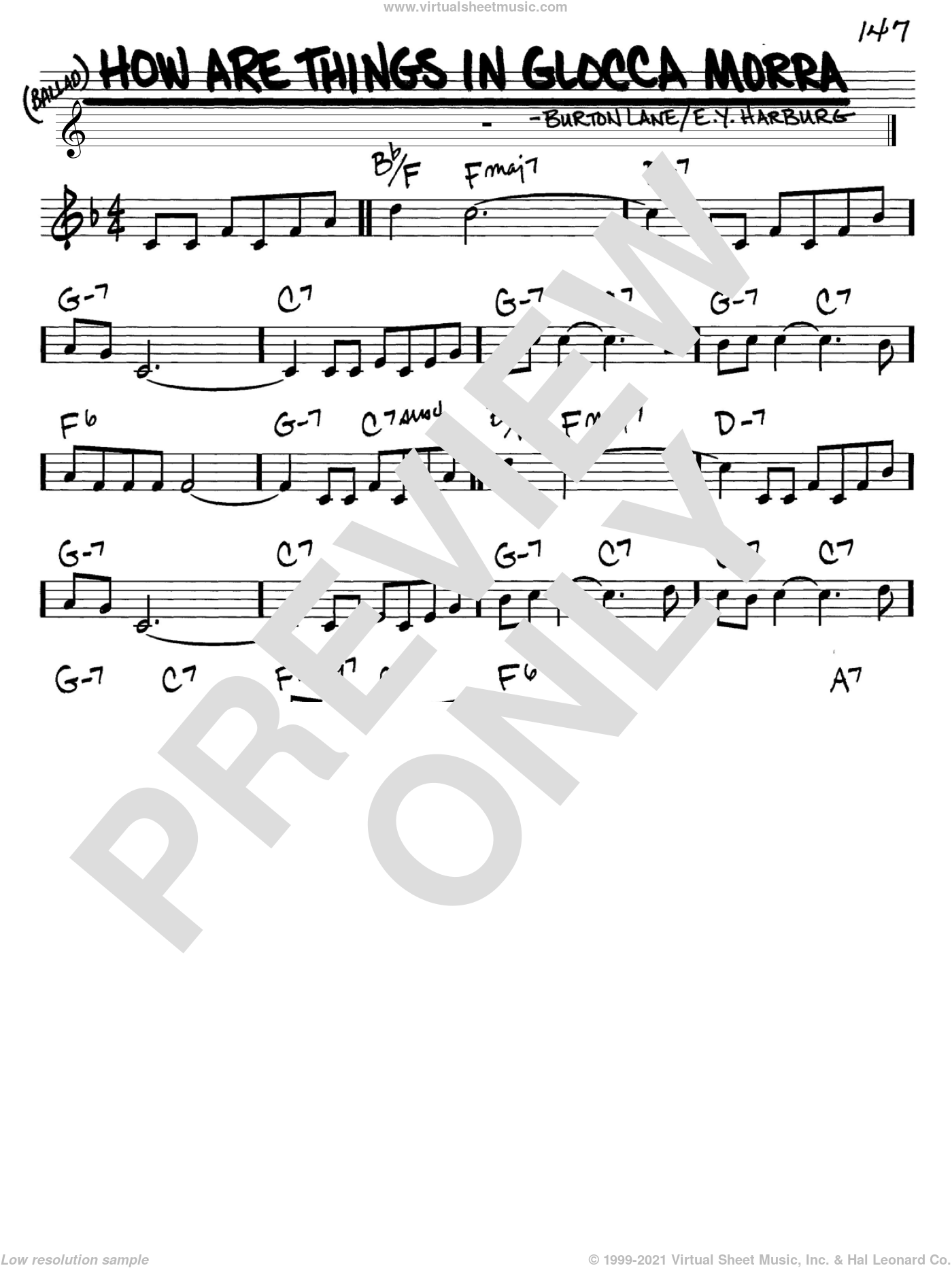 How Are Things In Glocca Morra sheet music for voice and other instruments (C) by E.Y. Harburg and Burton Lane. Score Image Preview.