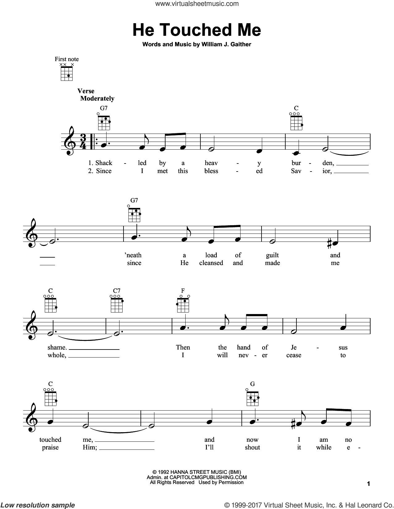 He Touched Me sheet music for ukulele by William J. Gaither. Score Image Preview.