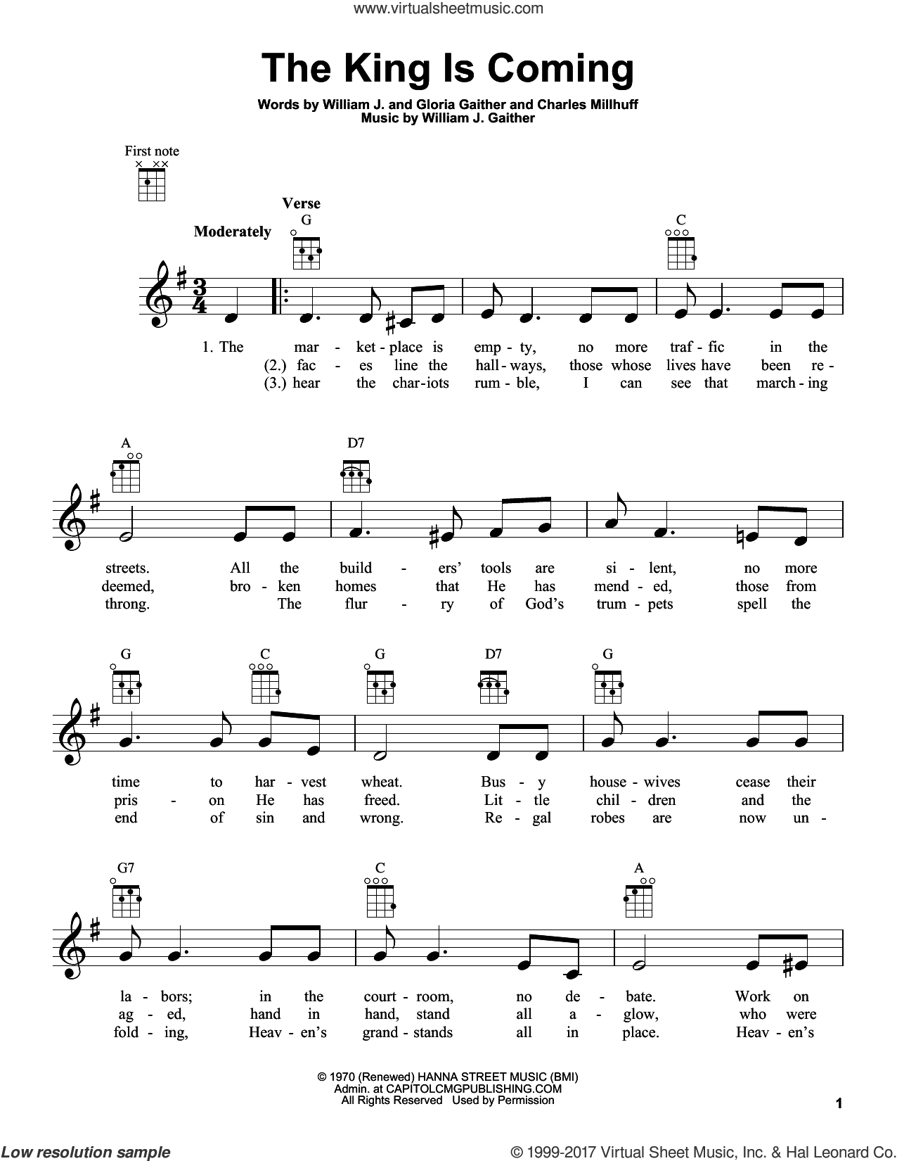 The King Is Coming sheet music for ukulele by Charles Millhuff, Gloria Gaither and William J. Gaither, intermediate