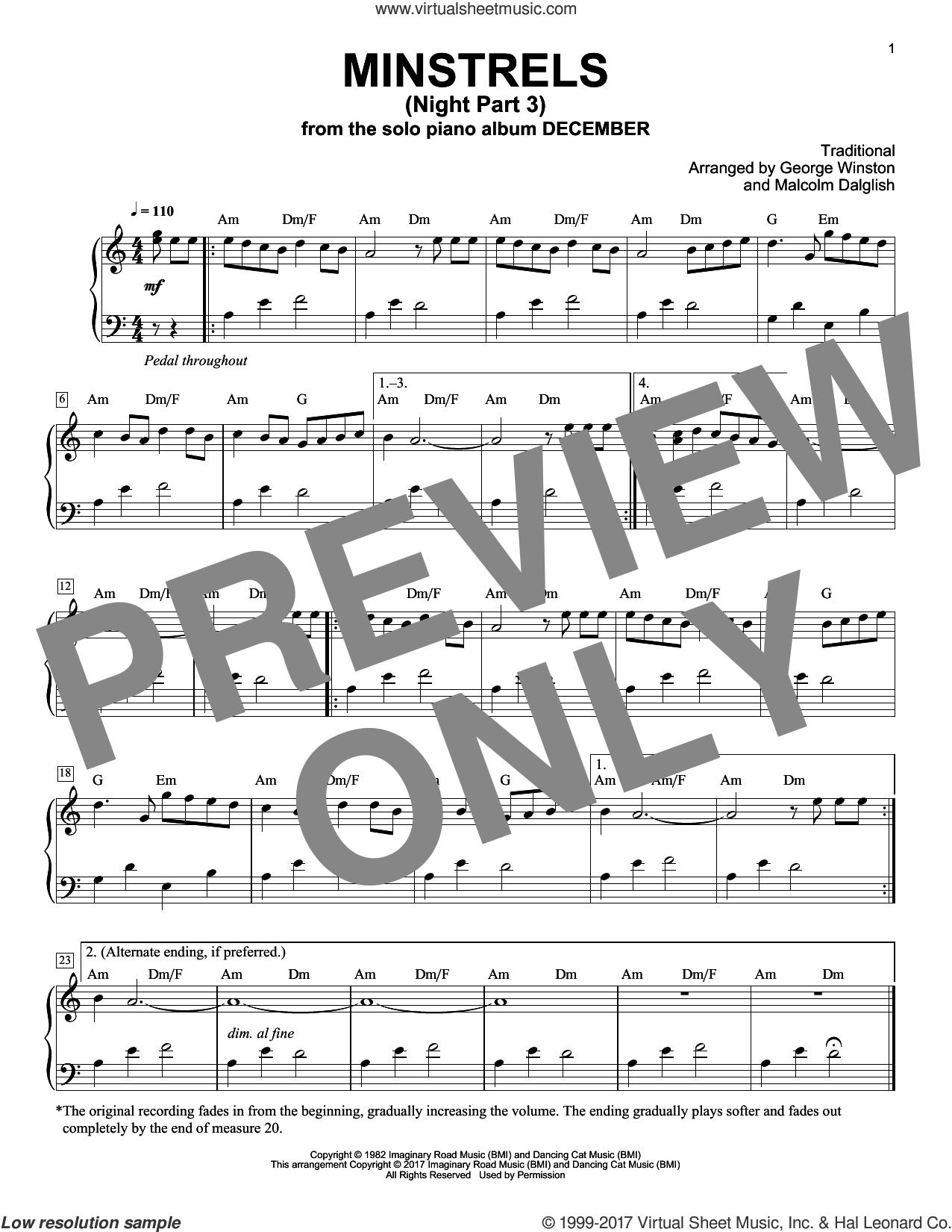 Minstrels (Night Part 3) sheet music for piano solo by George Winston and Malcolm Dalglish, intermediate skill level