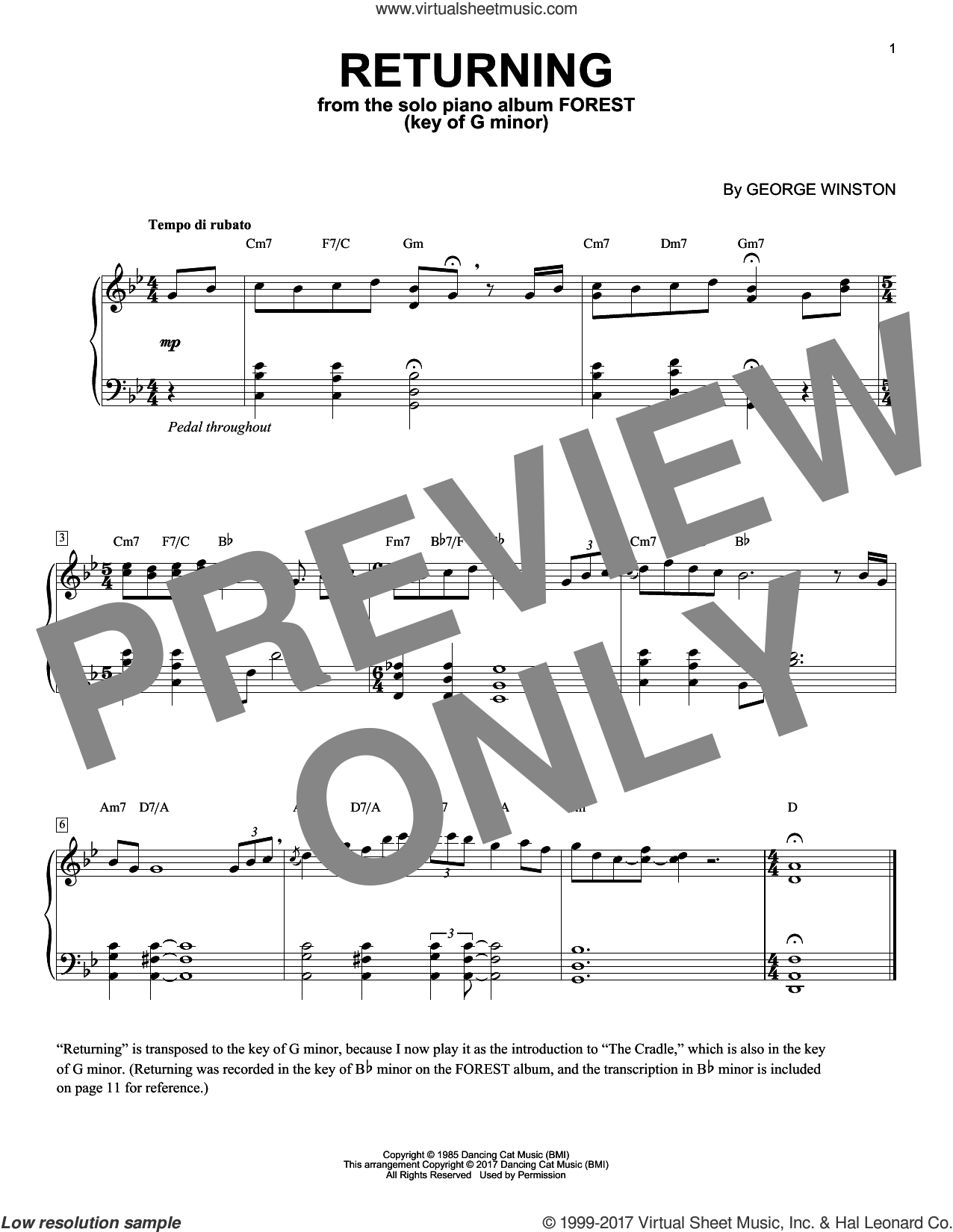 Returning In The Key Of G Minor sheet music for piano solo by George Winston, intermediate piano. Score Image Preview.
