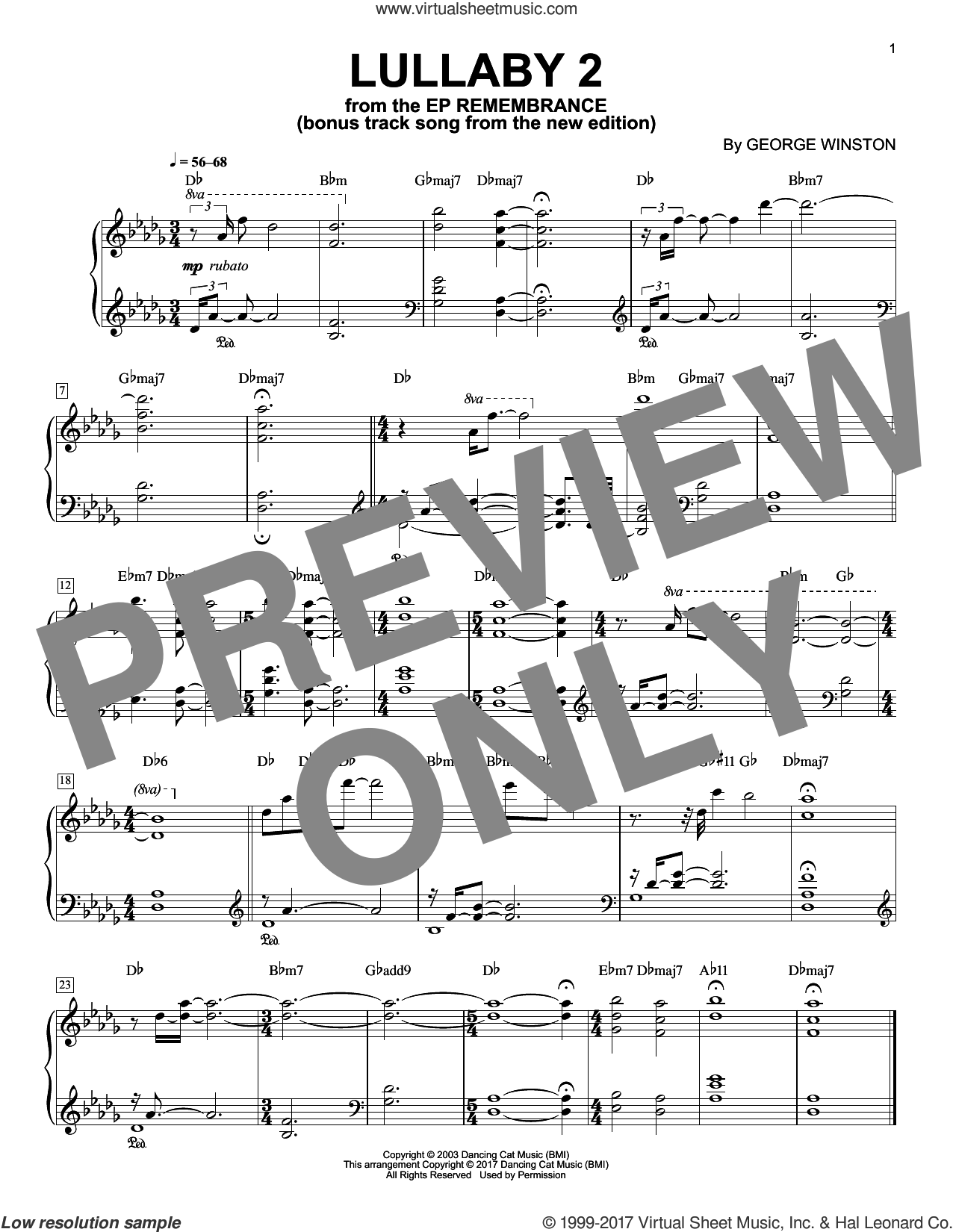 Lullaby 2 sheet music for piano solo by George Winston, intermediate skill level