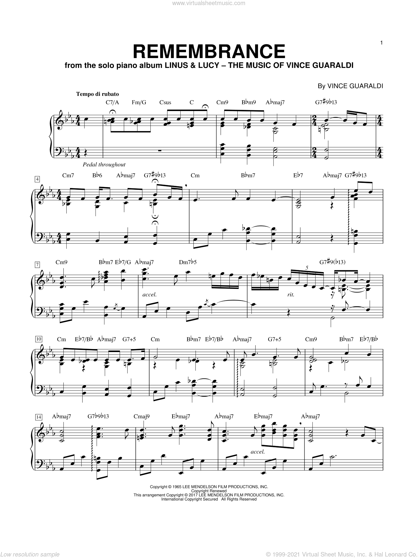 Remembrance (In Remembrance Of Me) sheet music for piano solo by George Winston and Vince Guaraldi, intermediate skill level