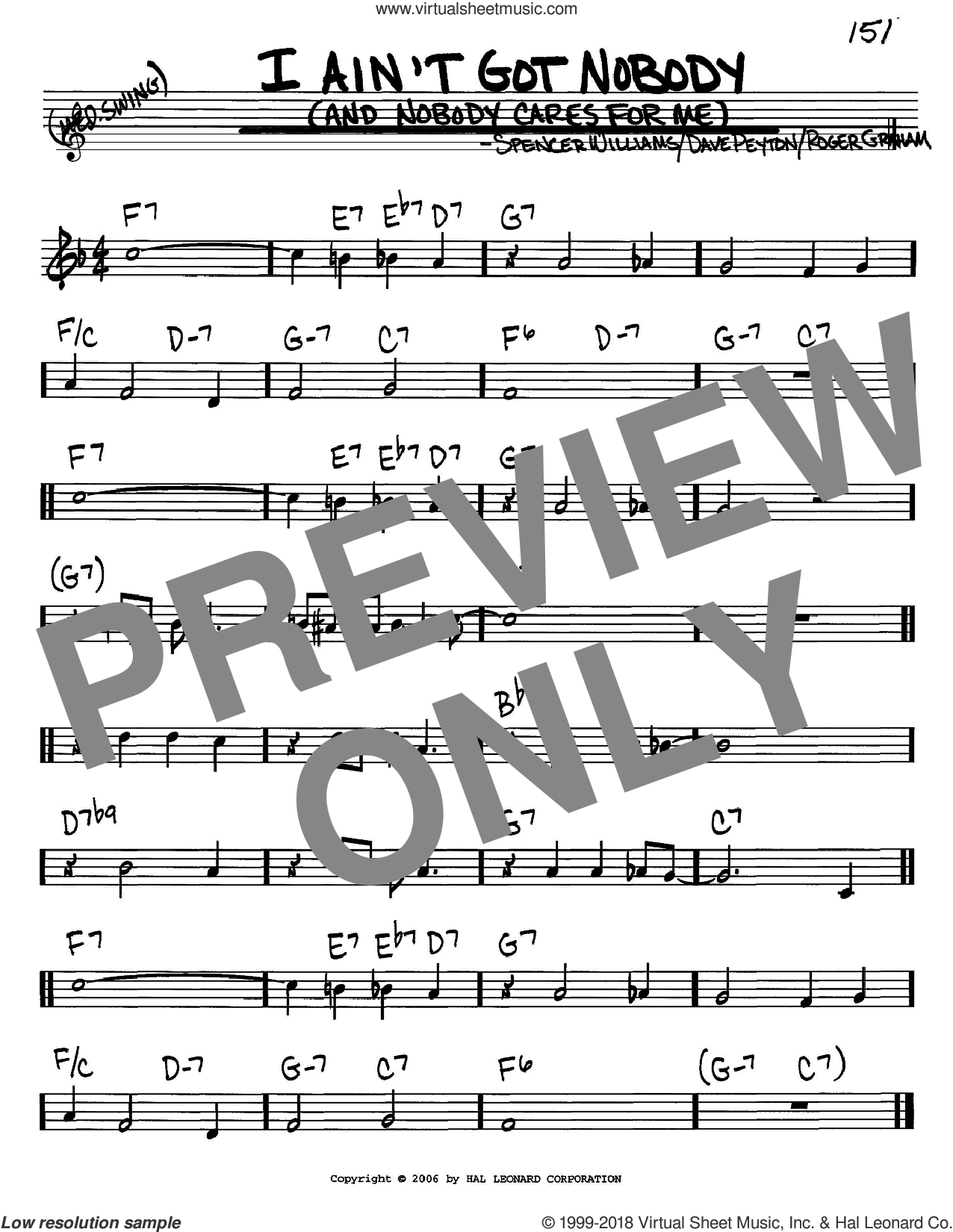 I Ain't Got Nobody (And Nobody Cares For Me) sheet music for voice and other instruments (in C) by Bessie Smith, Dave Peyton, Roger Graham and Spencer Williams, intermediate skill level