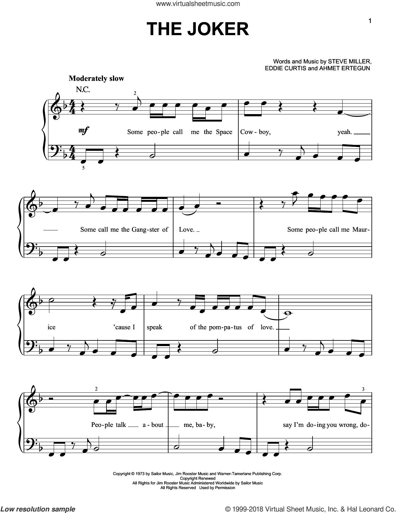 The Joker sheet music for piano solo by Steve Miller Band, Ahmet Ertegun and Eddie Curtis, beginner skill level