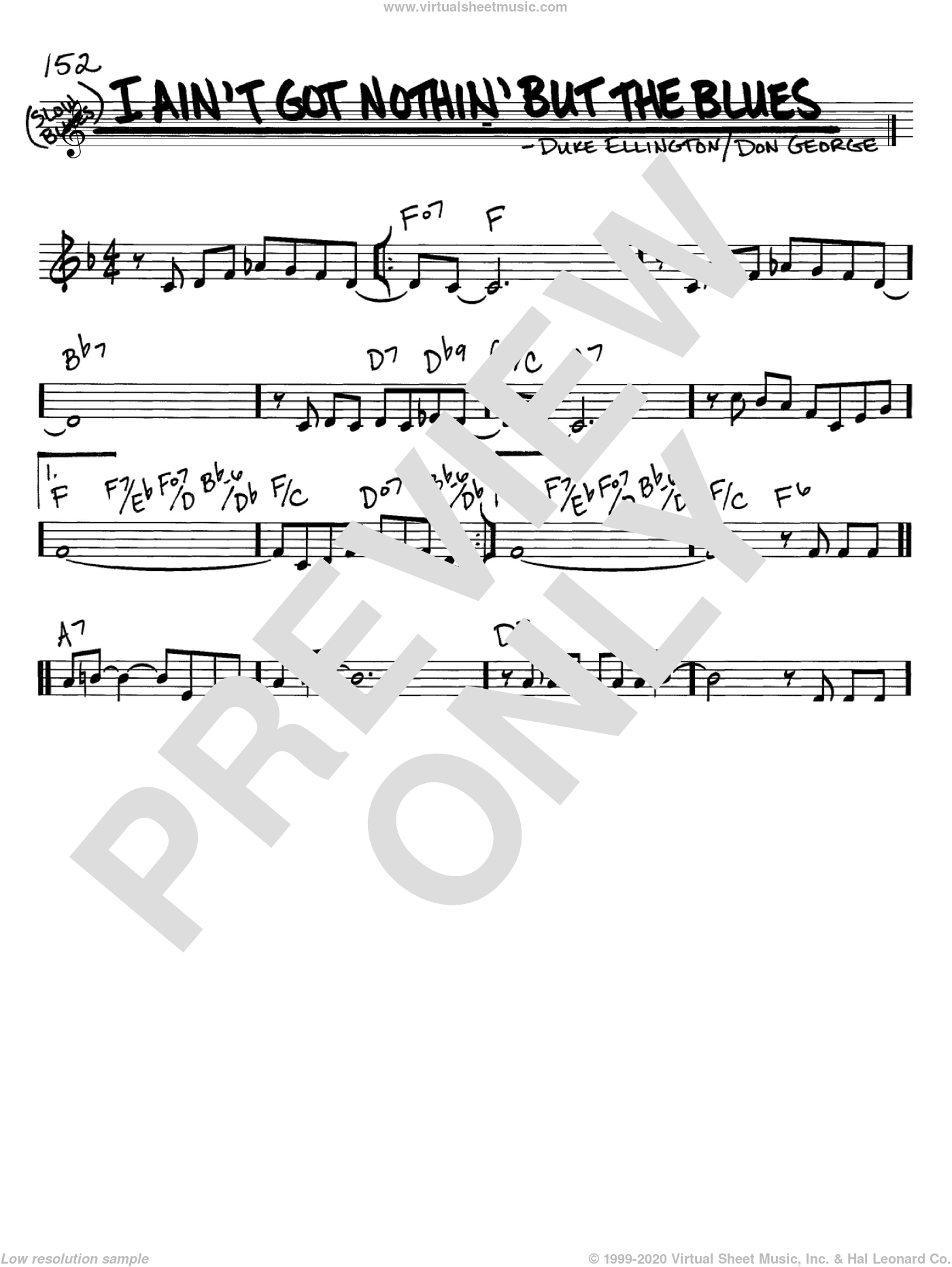 I Ain't Got Nothin' But The Blues sheet music for voice and other instruments (C) by Duke Ellington and Don George. Score Image Preview.