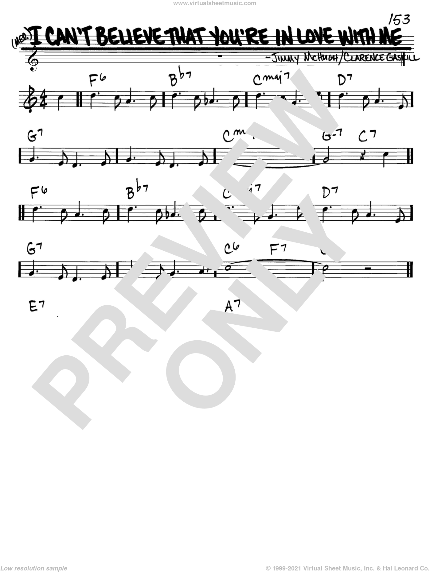 I Can't Believe That You're In Love With Me sheet music for voice and other instruments (C) by Jimmy McHugh and Clarence Gaskill, intermediate. Score Image Preview.