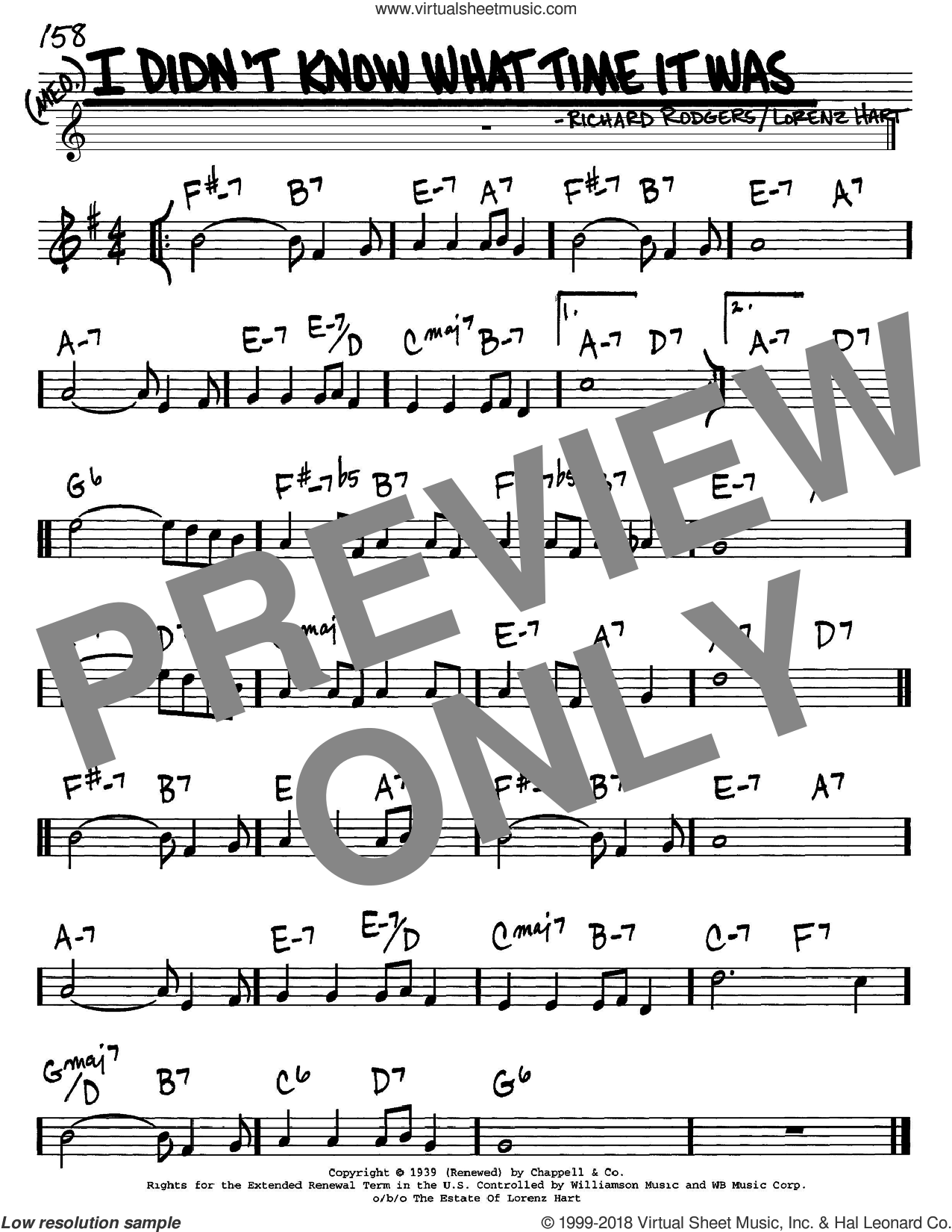 I Didn't Know What Time It Was sheet music for voice and other instruments (in C) by Rodgers & Hart, Lorenz Hart and Richard Rodgers, intermediate. Score Image Preview.