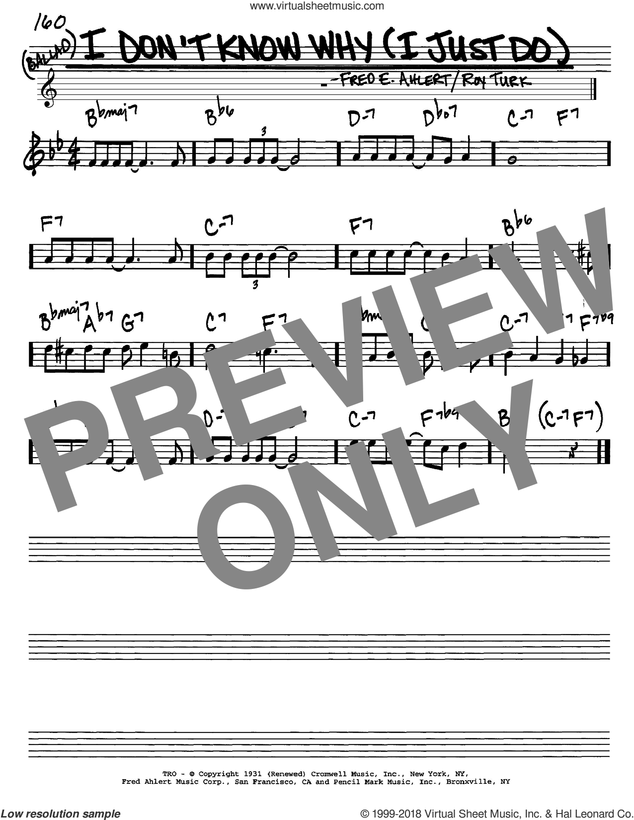 I Don't Know Why (I Just Do) sheet music for voice and other instruments (C) by Roy Turk, Dean Martin, Frank Sinatra, Nat King Cole and Fred Ahlert