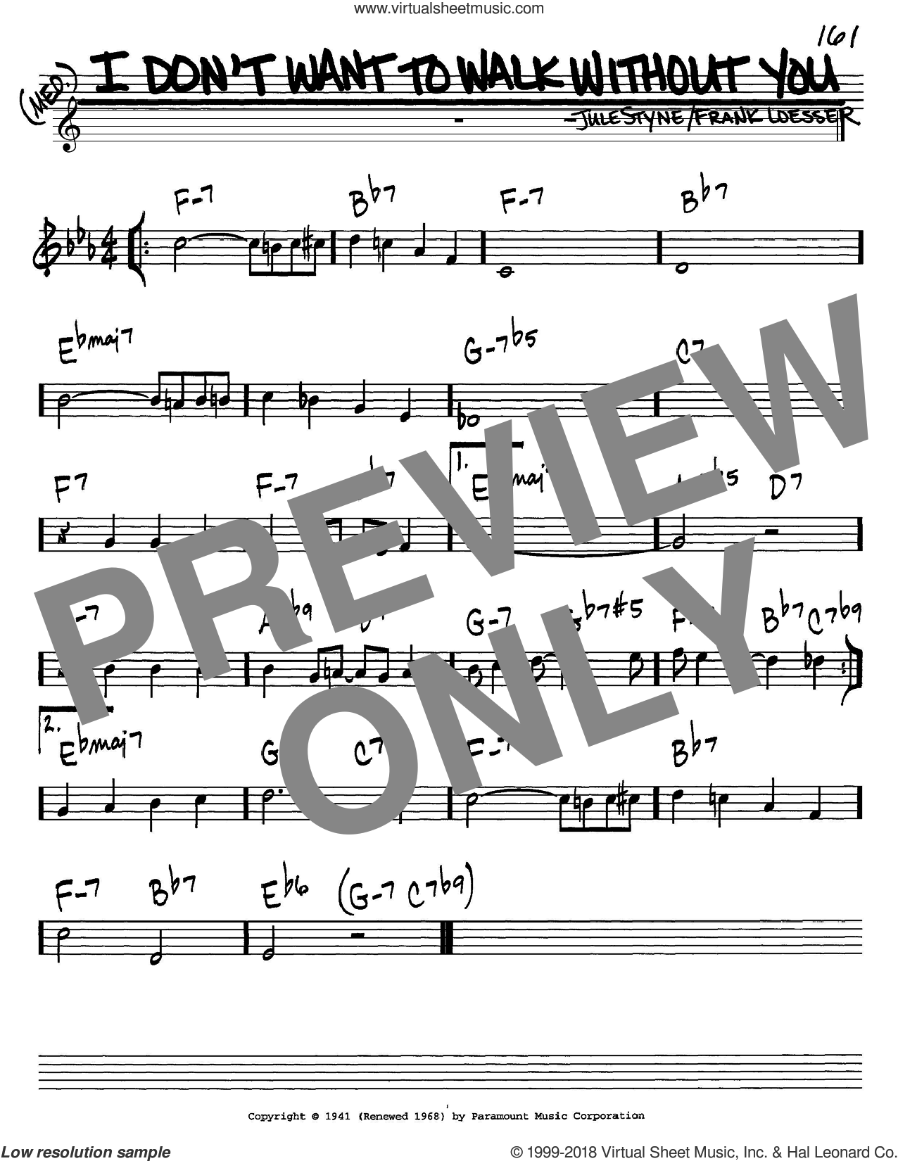 I Don't Want To Walk Without You sheet music for voice and other instruments (C) by Jule Styne and Frank Loesser. Score Image Preview.