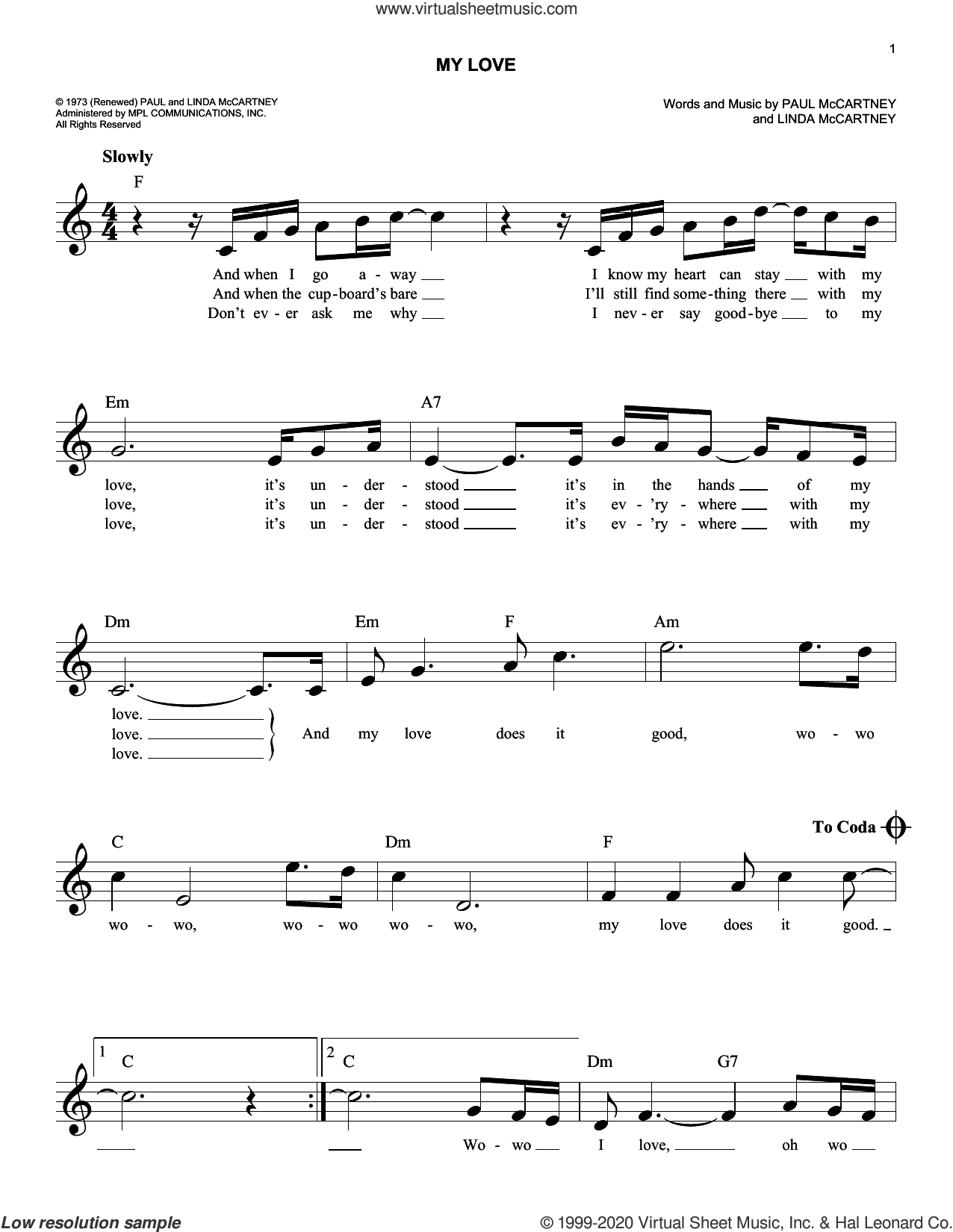 My Love sheet music for voice and other instruments (fake book) by Paul McCartney, Paul McCartney and Wings and Linda McCartney, intermediate skill level