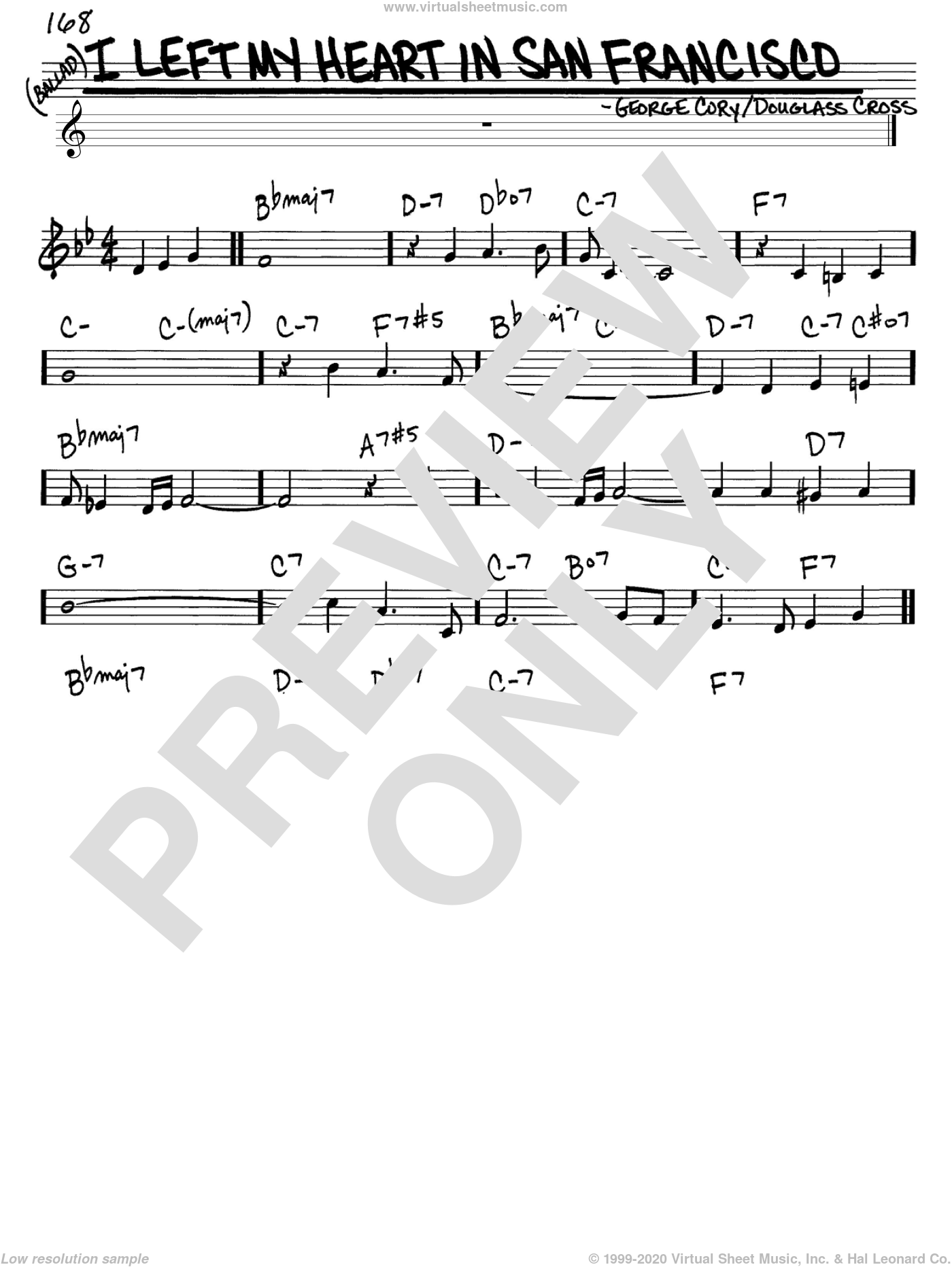 I Left My Heart In San Francisco sheet music for voice and other instruments (C) by George Cory