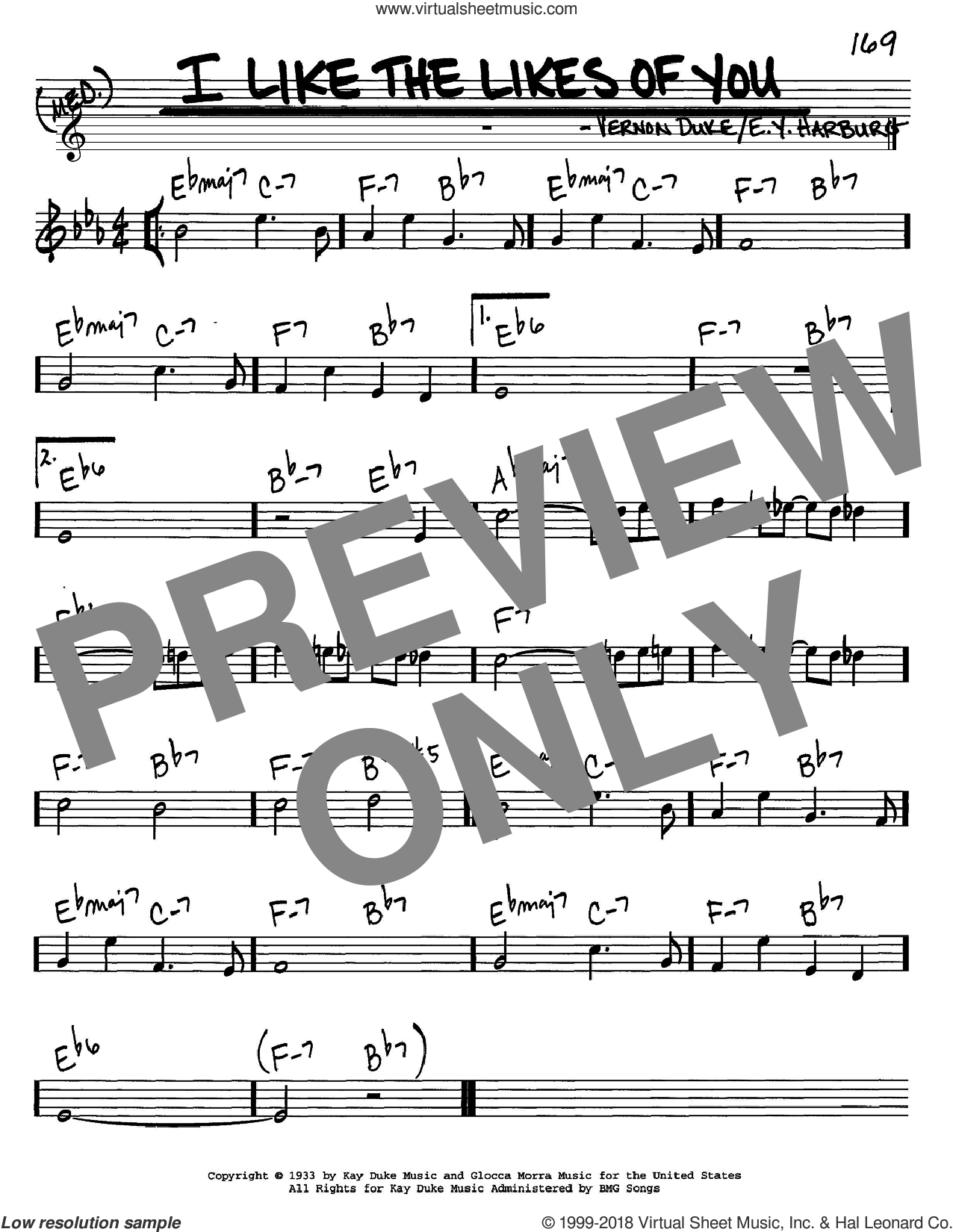 I Like The Likes Of You sheet music for voice and other instruments (in C) by E.Y. Harburg and Vernon Duke, intermediate skill level