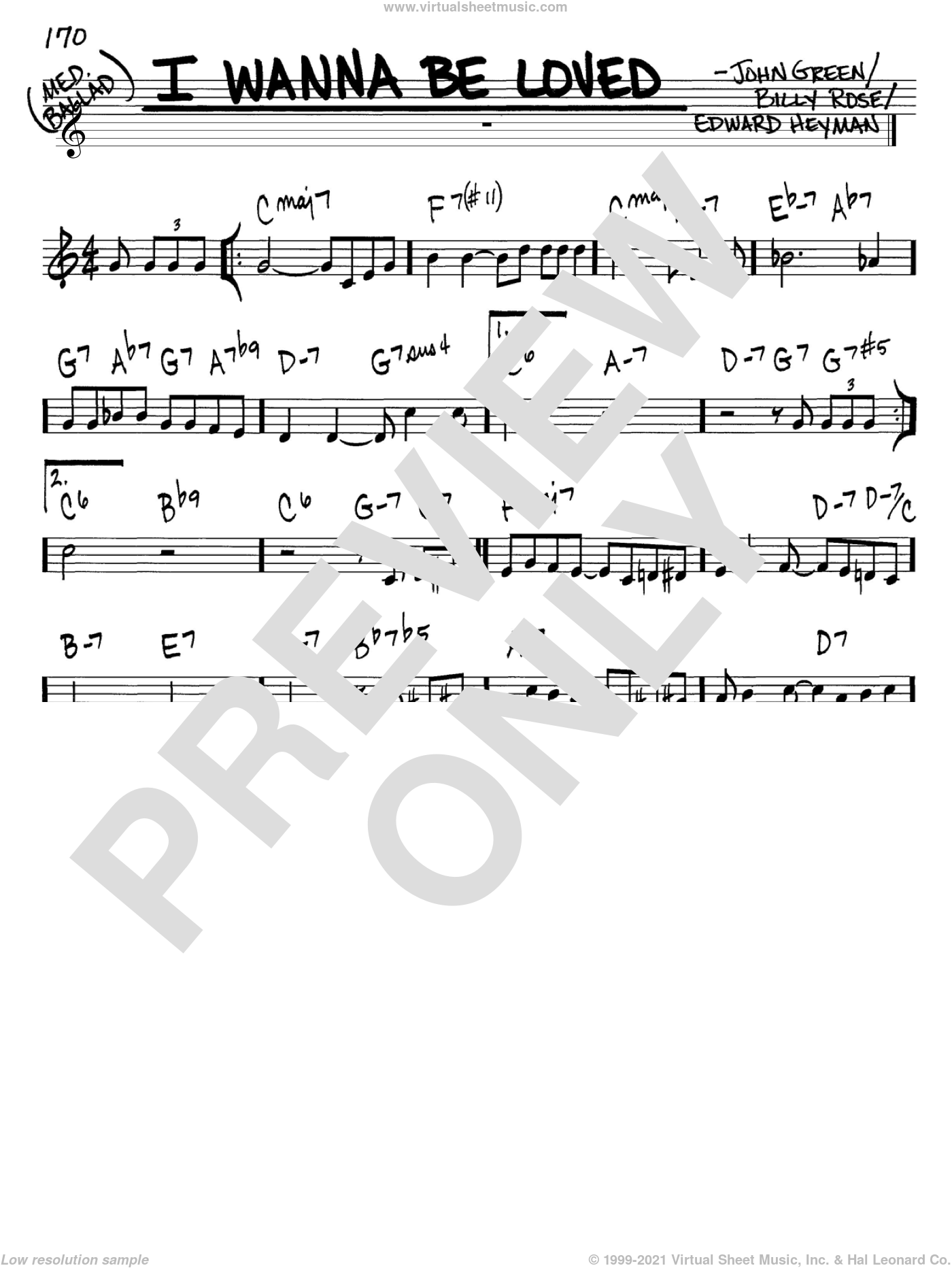 I Wanna Be Loved sheet music for voice and other instruments (in C) by Billy Rose, Edward Heyman and Johnny Green, intermediate. Score Image Preview.