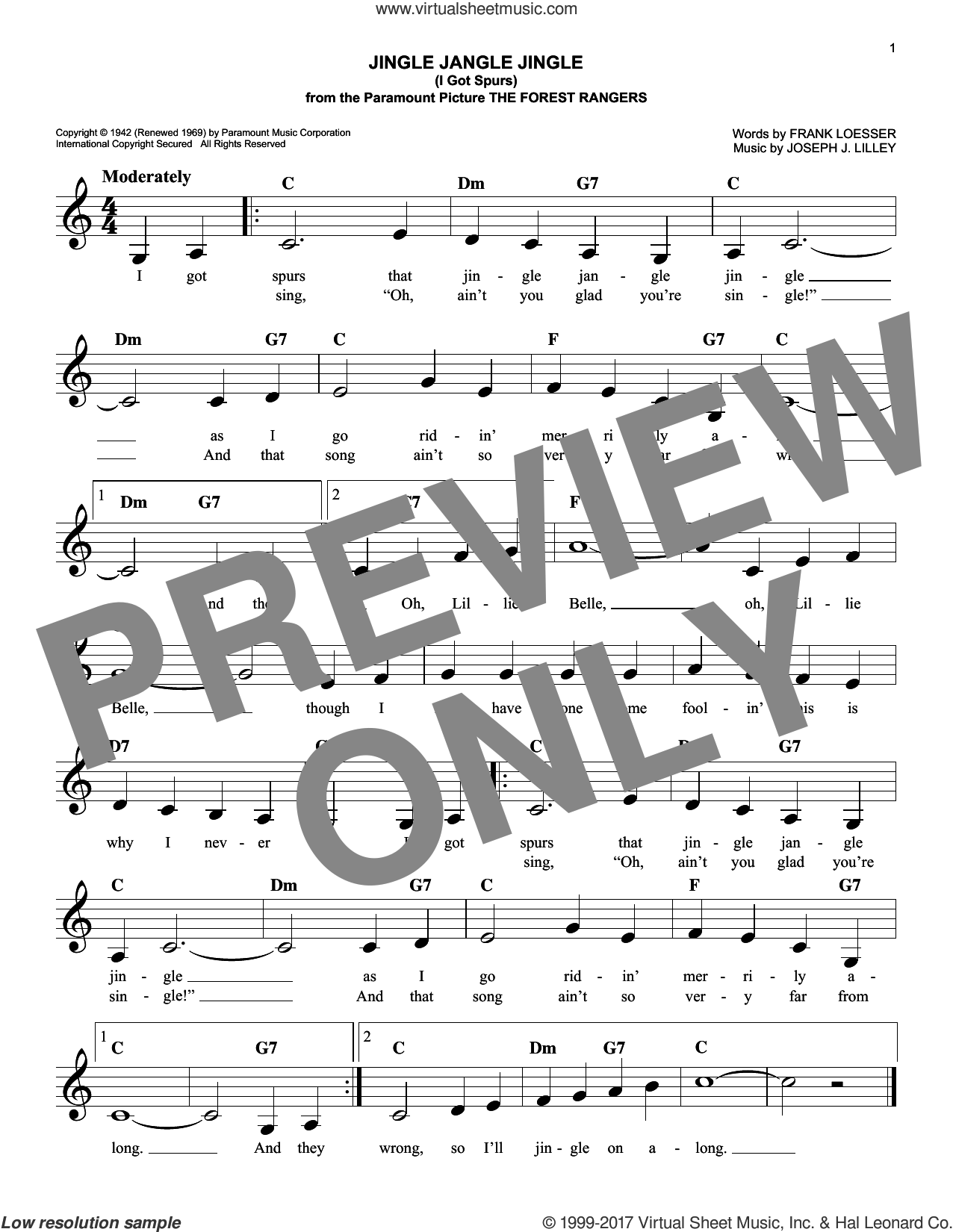 Jingle Jangle Jingle (I Got Spurs) sheet music for voice and other instruments (fake book) by Frank Loesser and Joseph J. Lilley, intermediate skill level