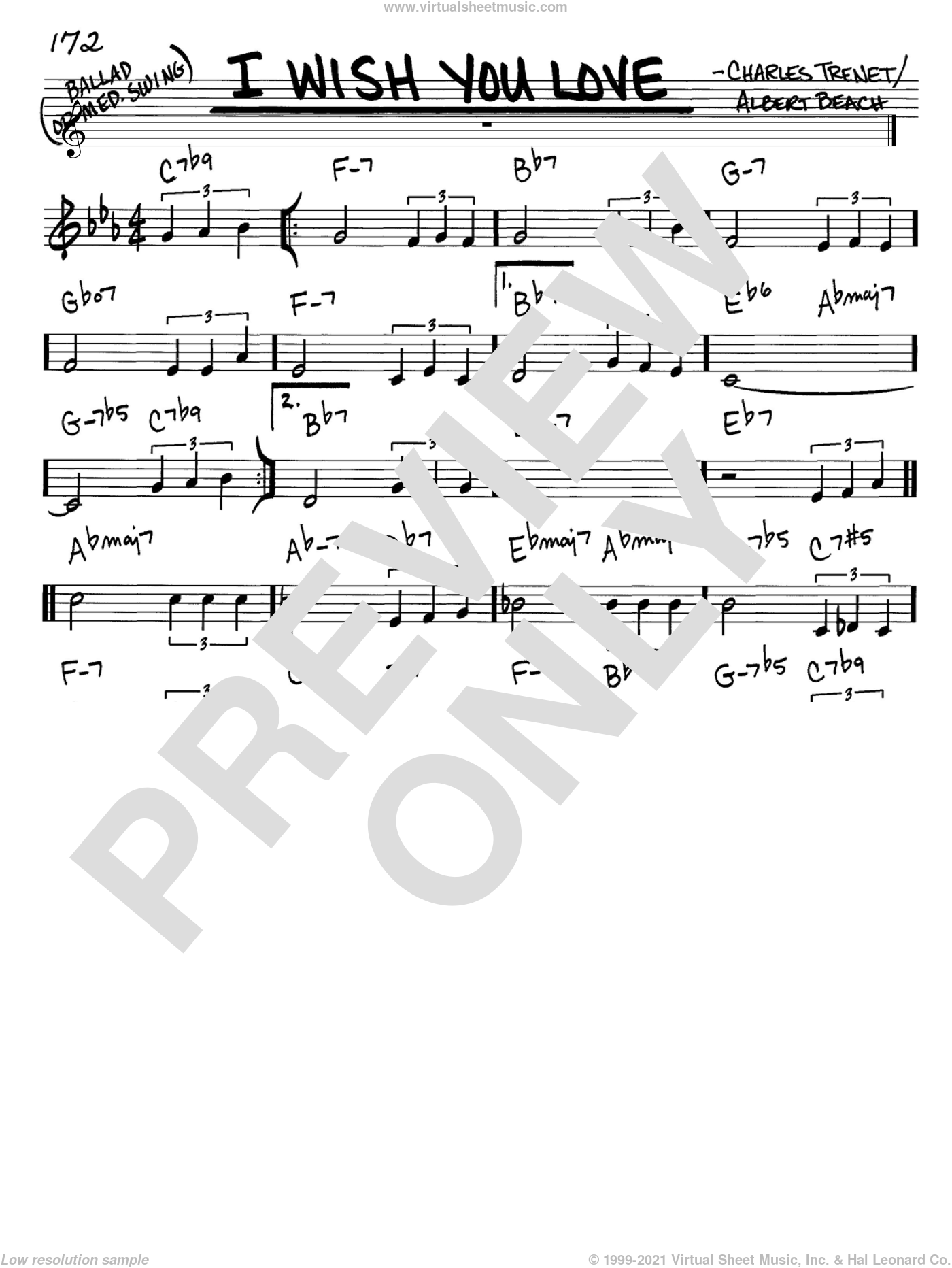 I Wish You Love sheet music for voice and other instruments (C) by Charles Trenet and Albert Beach. Score Image Preview.