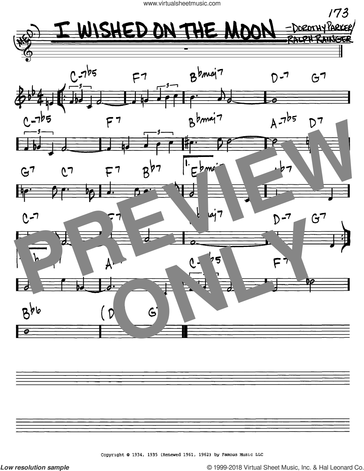 I Wished On The Moon sheet music for voice and other instruments (in C) by Dorothy Parker and Ralph Rainger, intermediate skill level