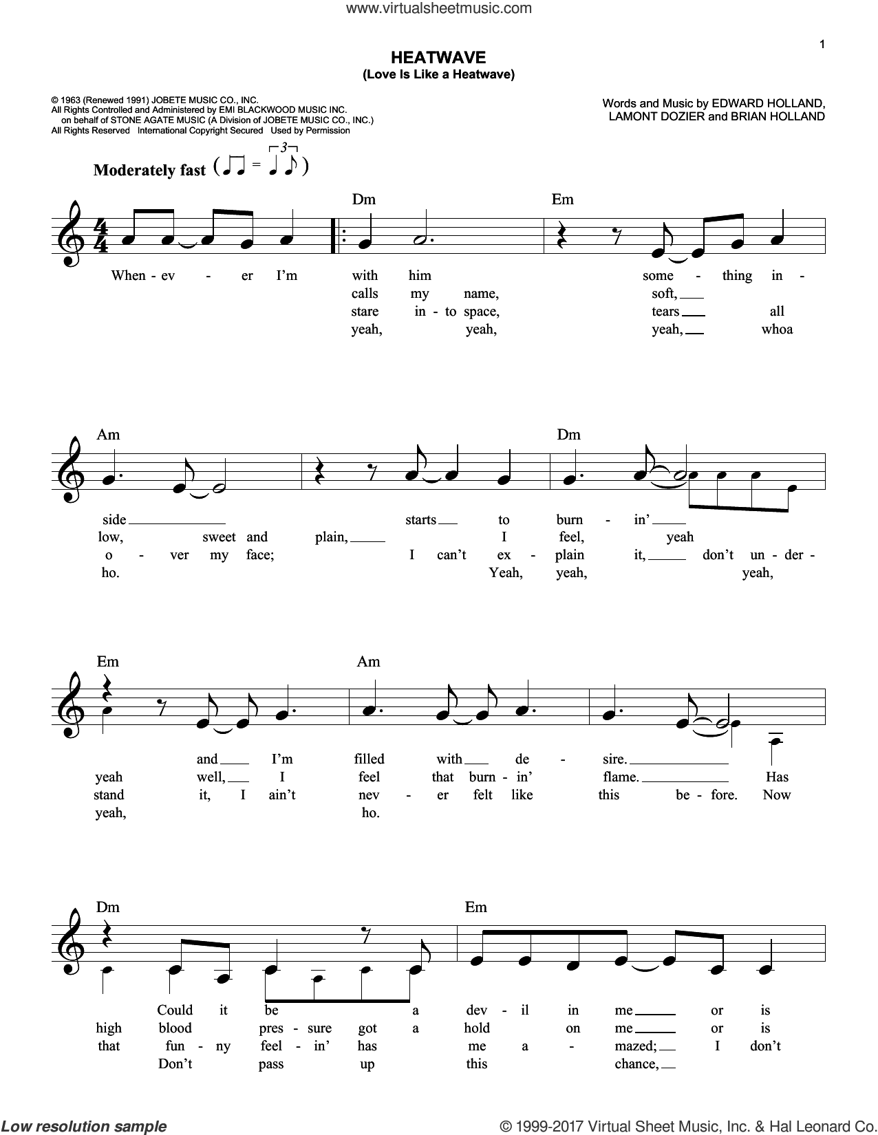 Heatwave (Love Is Like A Heatwave) sheet music for voice and other instruments (fake book) by Martha & The Vandellas, Linda Ronstadt, Brian Holland, Eddie Holland and Lamont Dozier, intermediate skill level
