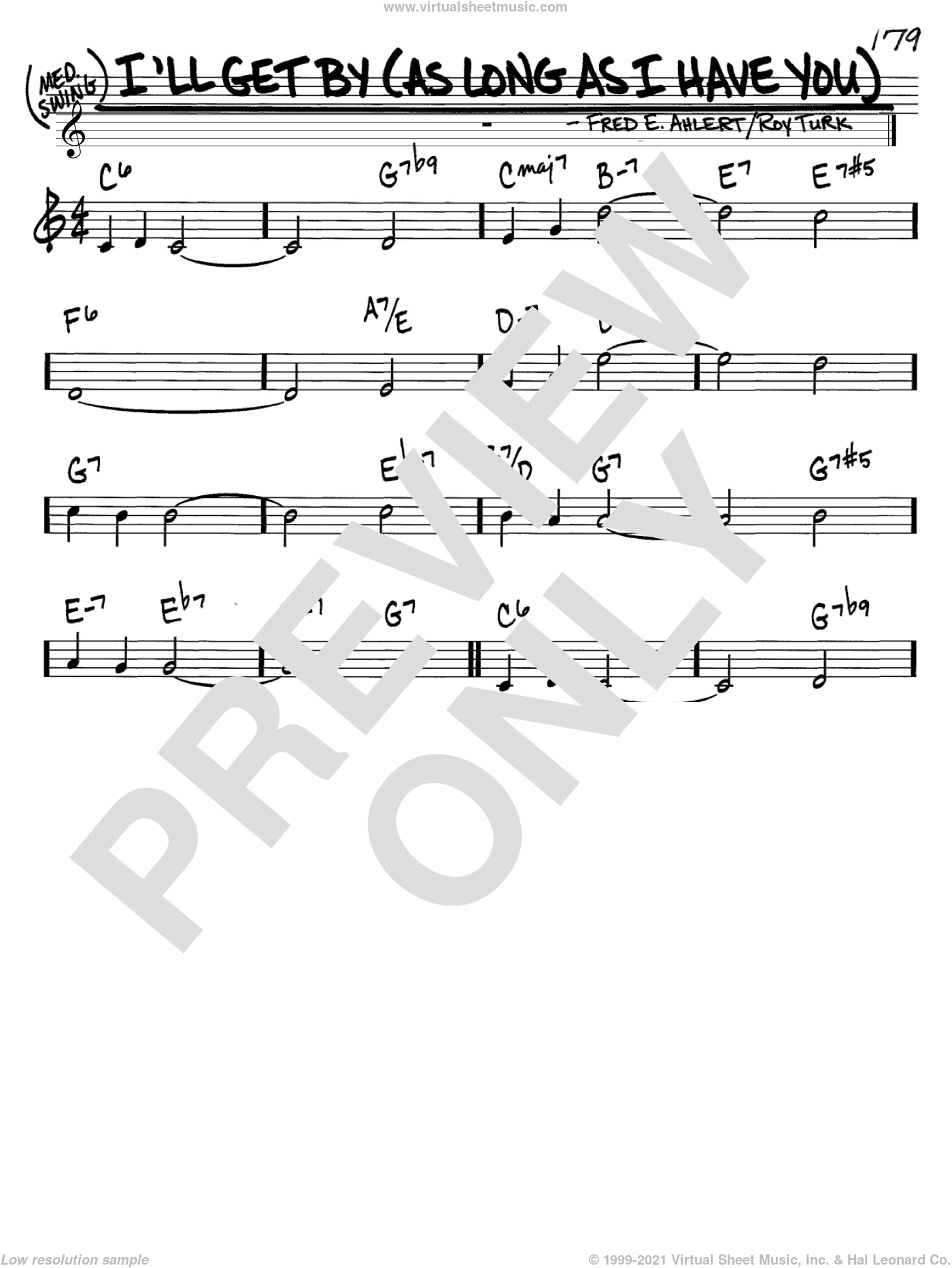 I'll Get By (As Long As I Have You) sheet music for voice and other instruments (C) by Roy Turk, Billie Holiday and Fred Ahlert