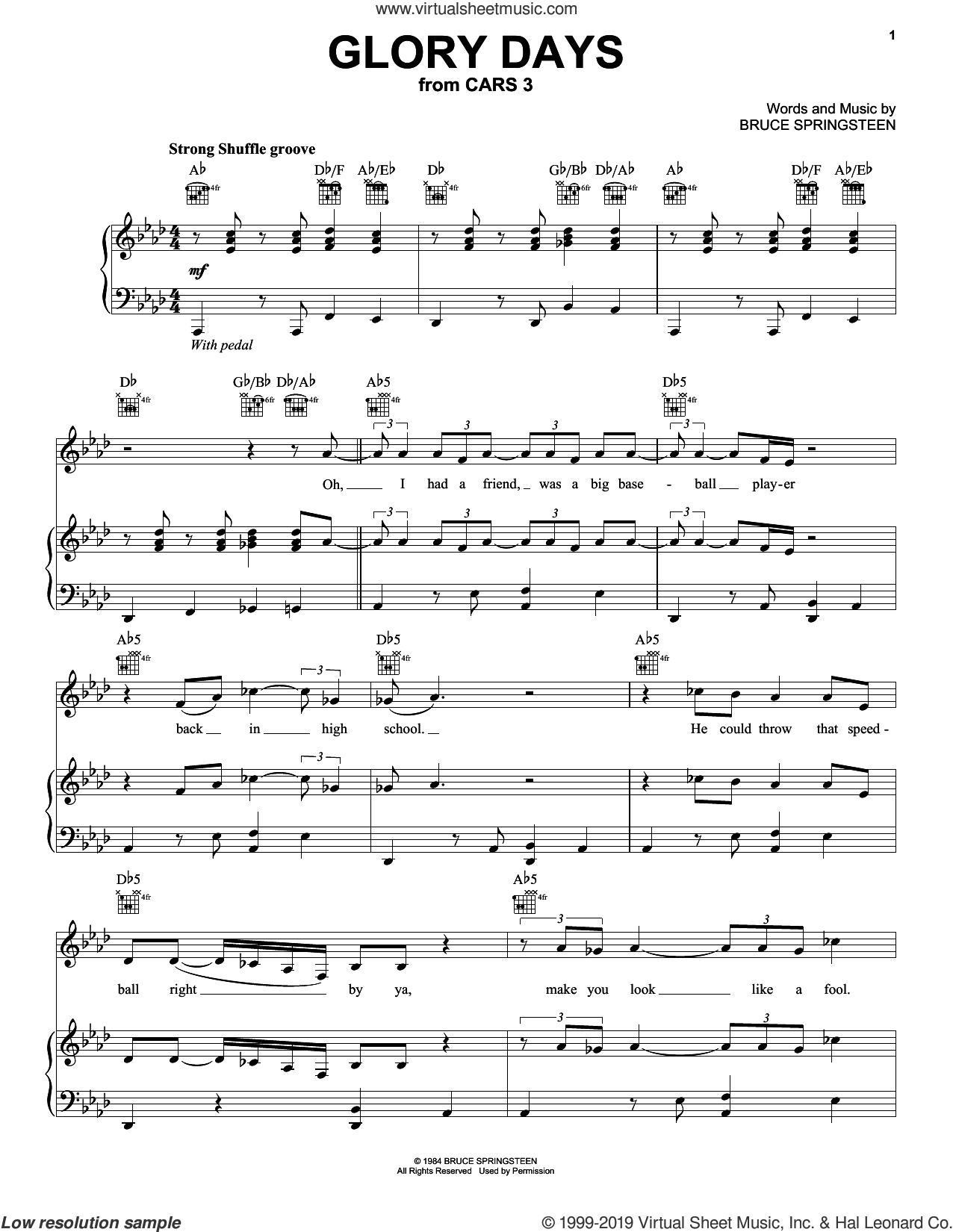 Glory Days sheet music for voice, piano or guitar by Bruce Springsteen, intermediate skill level