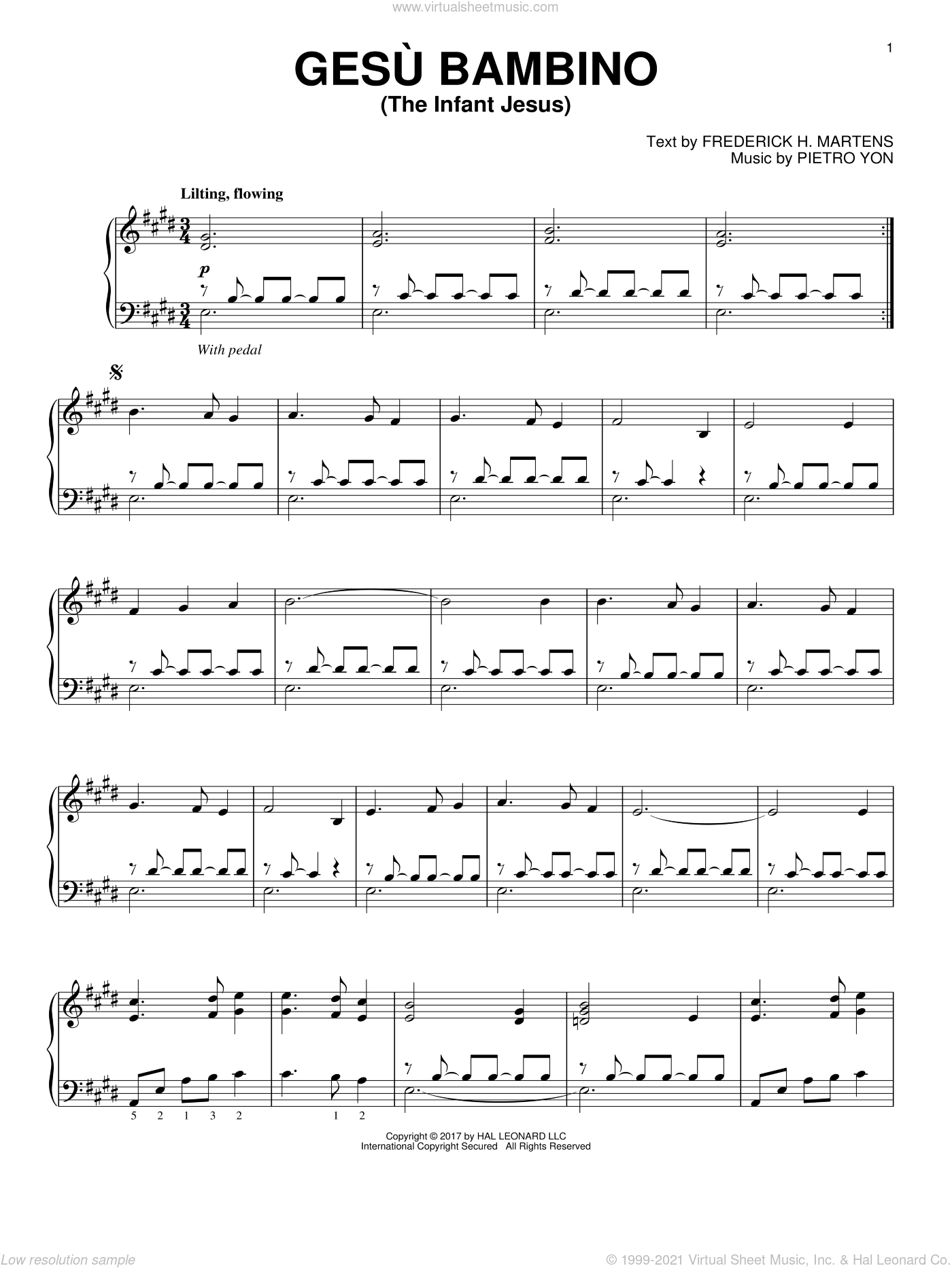 Gesu Bambino (The Infant Jesus) sheet music for piano solo by Pietro Yon and Frederick H. Martens, intermediate skill level
