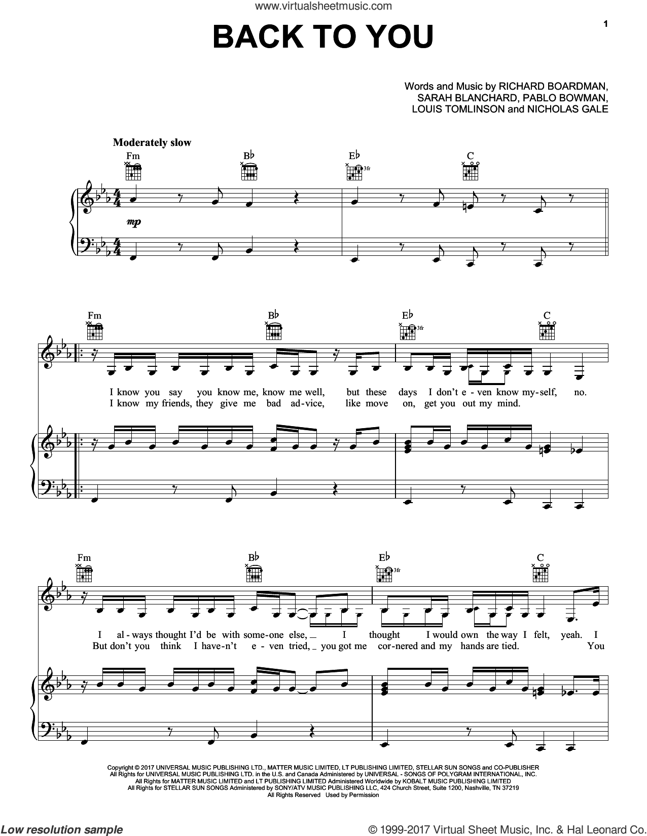 Back To You sheet music for voice, piano or guitar by Louis Tomlinson feat. Bebe Rexha & Digital Farm Animals, Louis Tomlinson, Nicholas Gale, Pablo Bowman, Richard Boardman and Sarah Blanchard, intermediate skill level