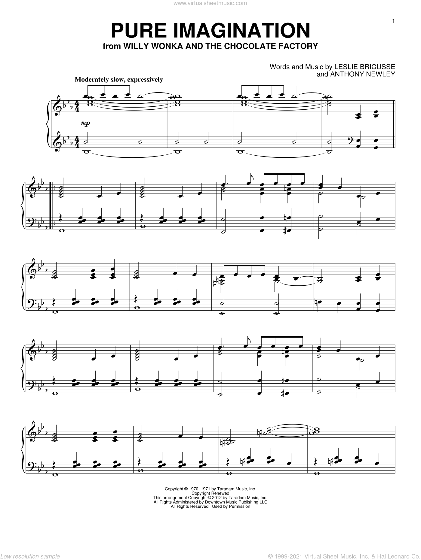 Pure Imagination sheet music for piano solo by Willy Wonka & the Chocolate Factory, Anthony Newley and Leslie Bricusse, intermediate piano. Score Image Preview.