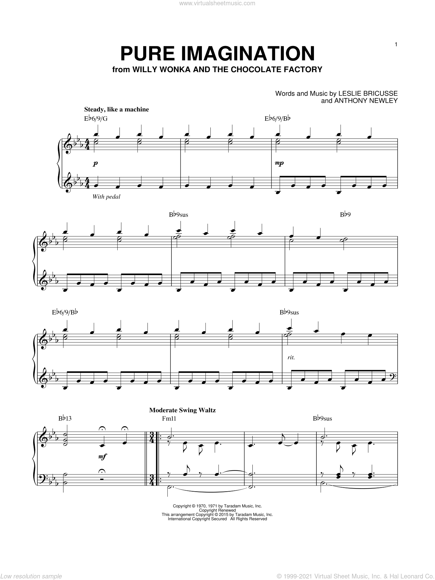 Pure Imagination sheet music for piano solo by Willy Wonka & the Chocolate Factory, Anthony Newley and Leslie Bricusse, intermediate skill level