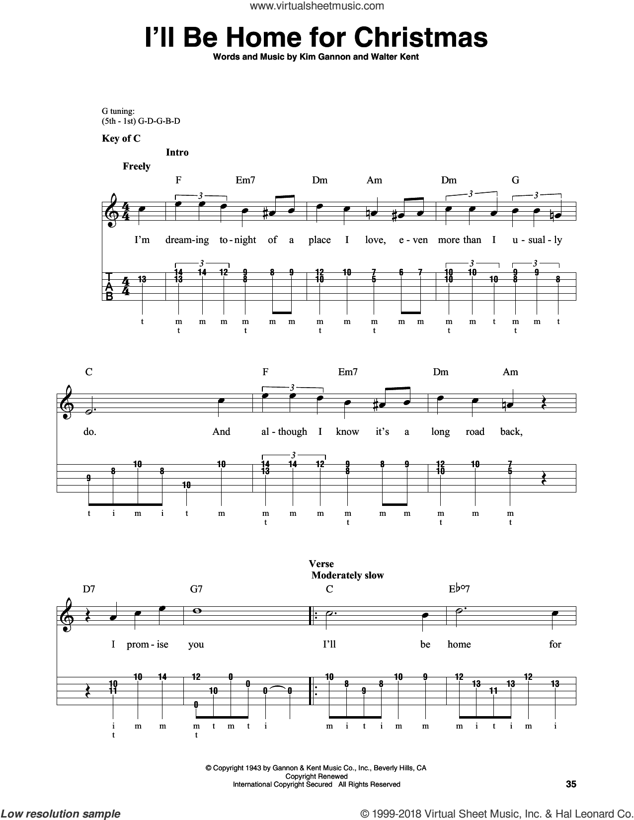 I'll Be Home For Christmas sheet music for banjo solo by Bing Crosby, Kim Gannon and Walter Kent, intermediate skill level